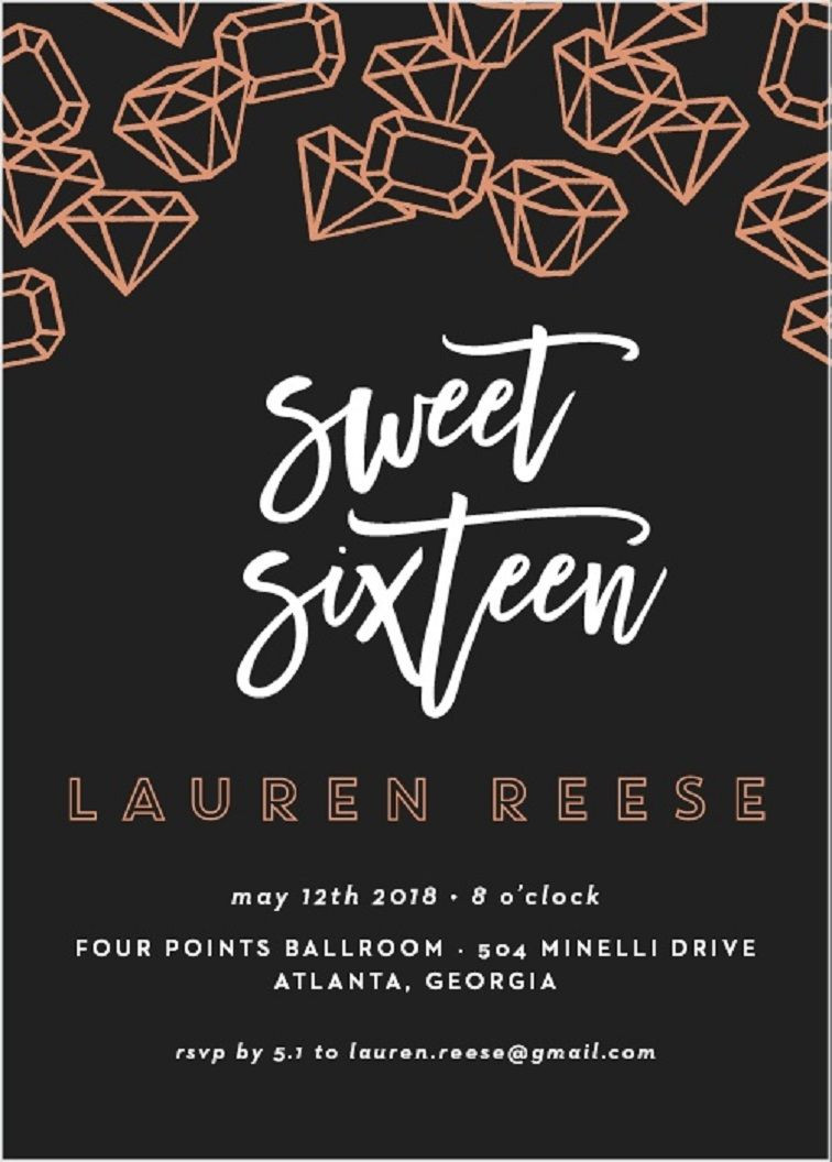 Sweet 16 Invite Template