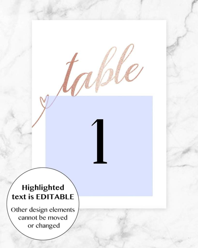 Table Number Cards Template