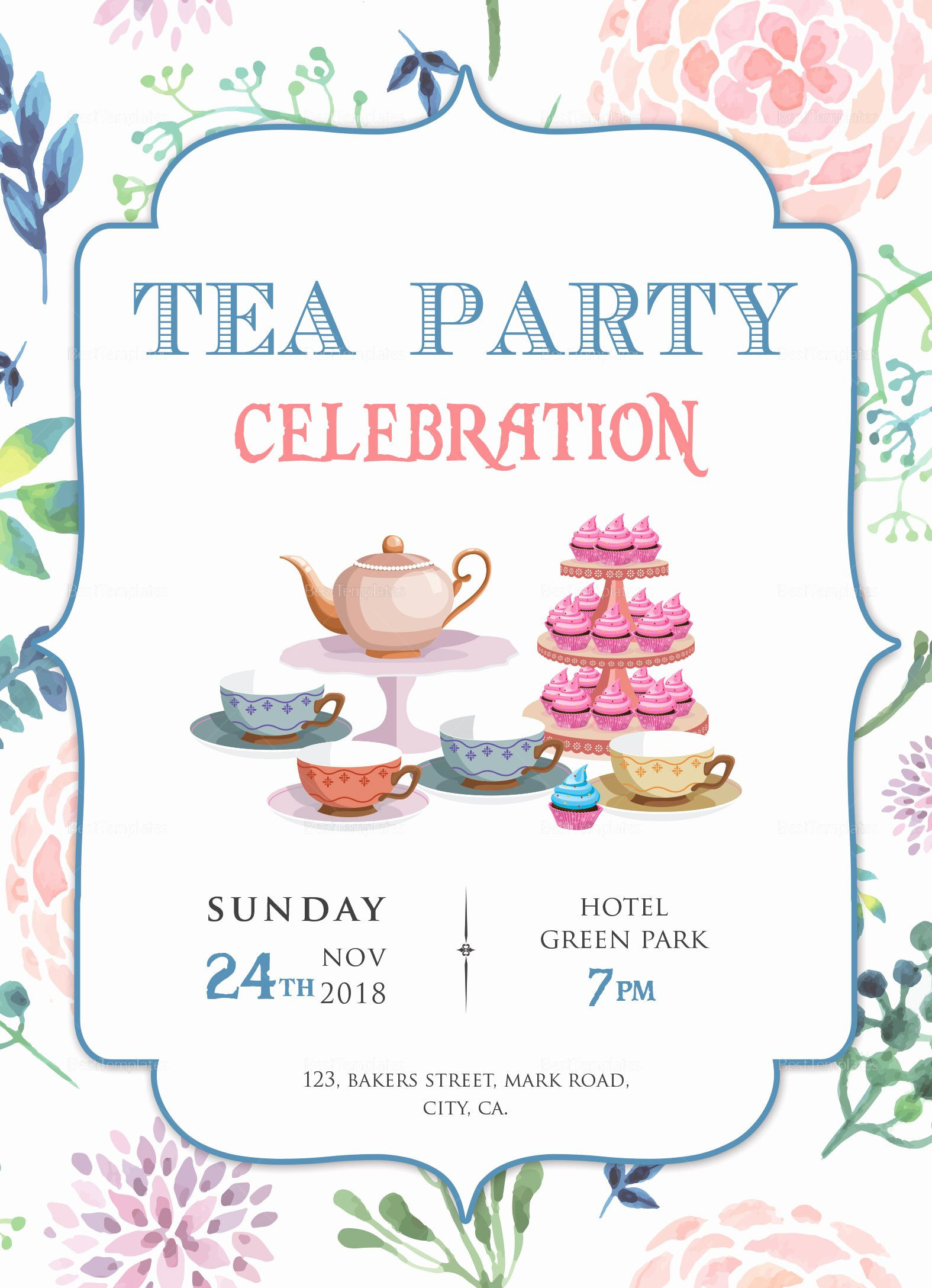 Tea Party Invitation Template Free in 2020