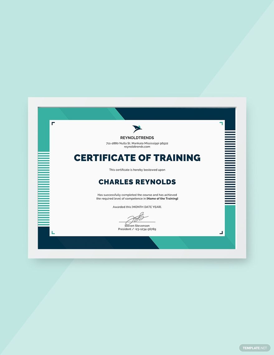 Training Certificate Template Free