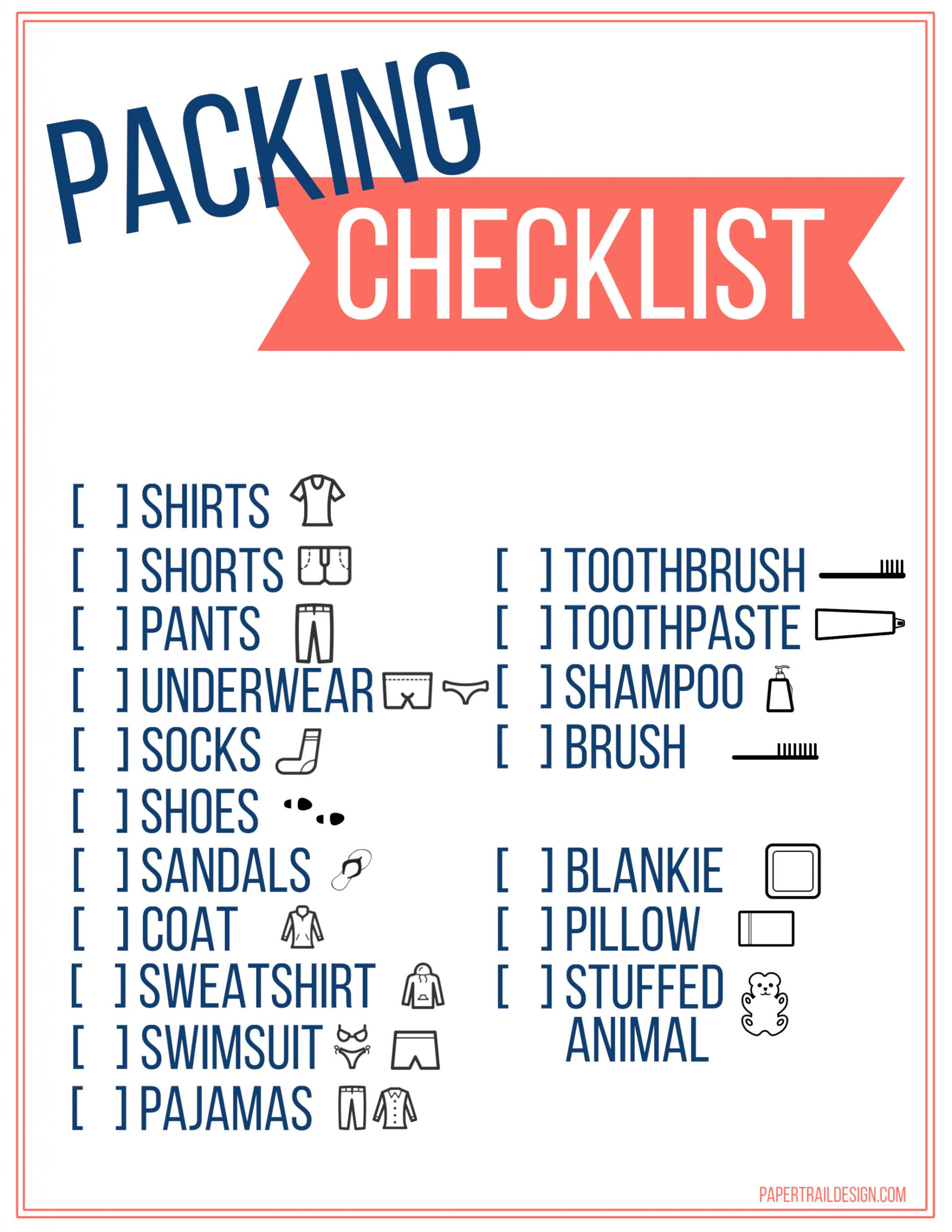 Travel Packing List Template