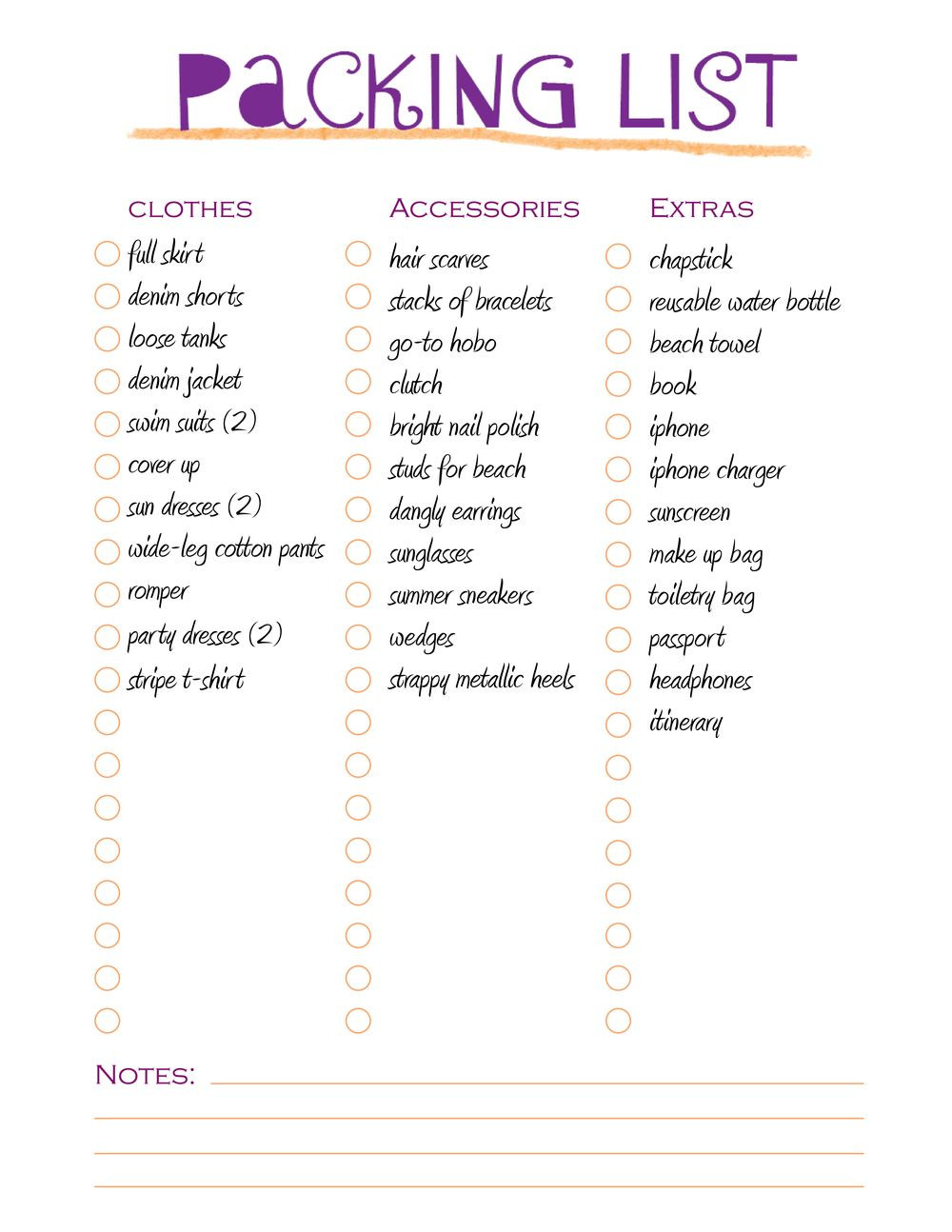Vacation Packing List Template