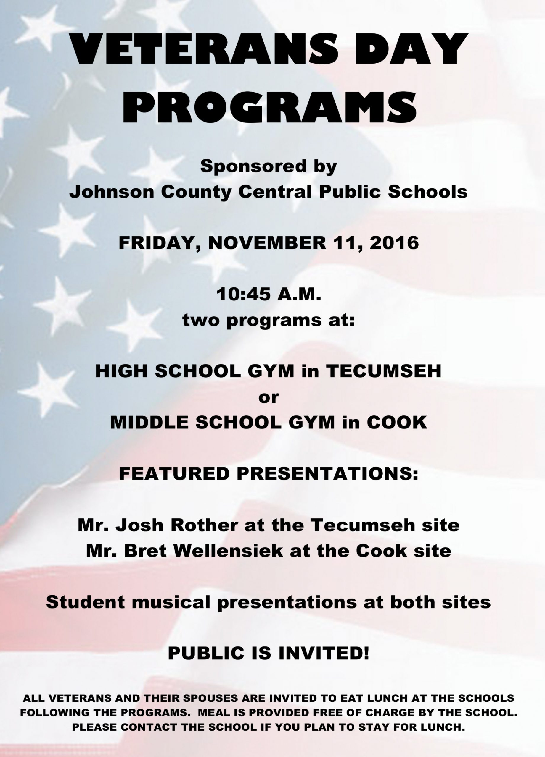 Johnson County Central Veterans Day Programs