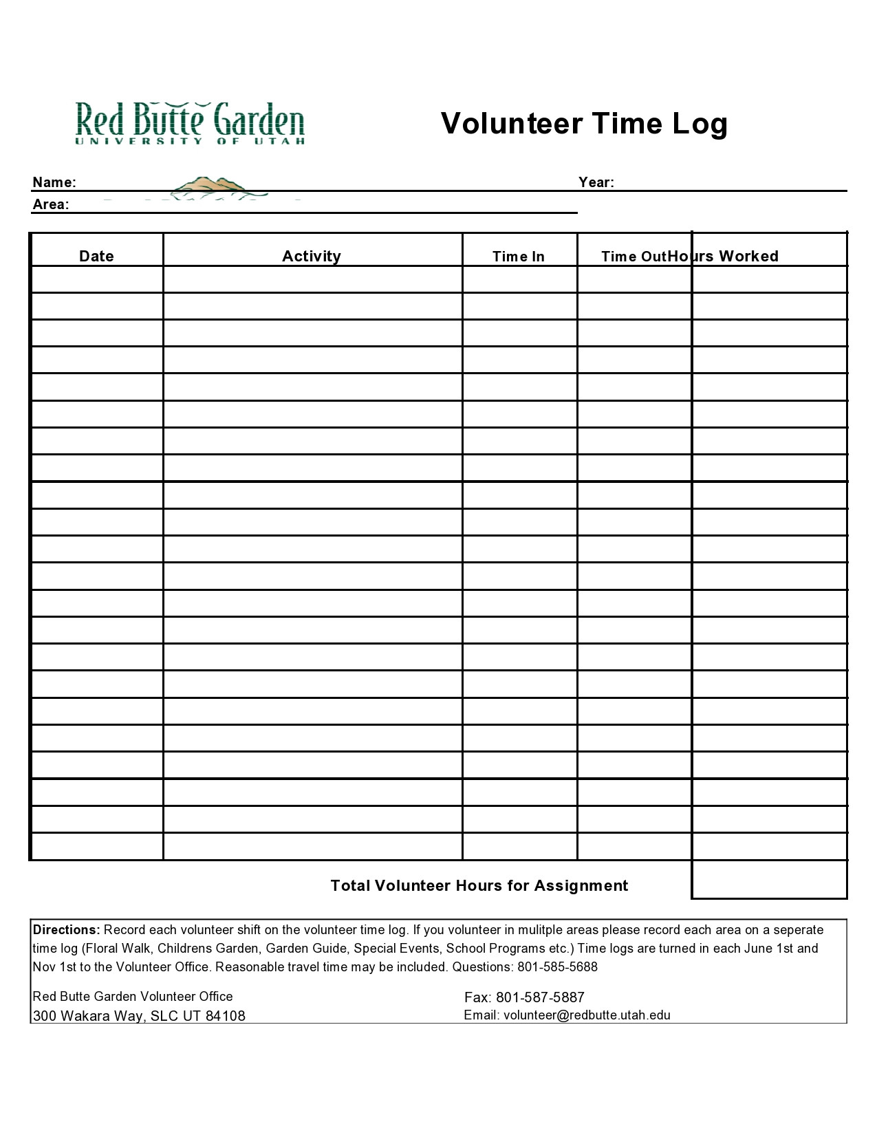 Volunteer Hours Log Template