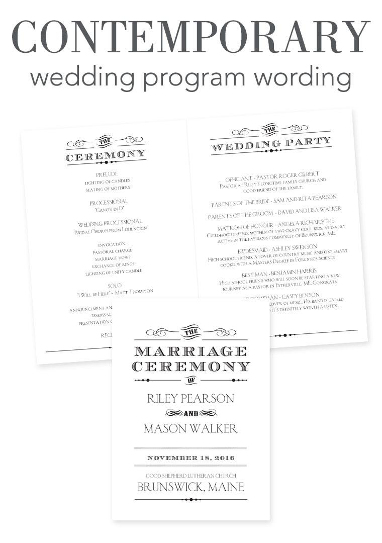 Wedding Ceremony Program Template