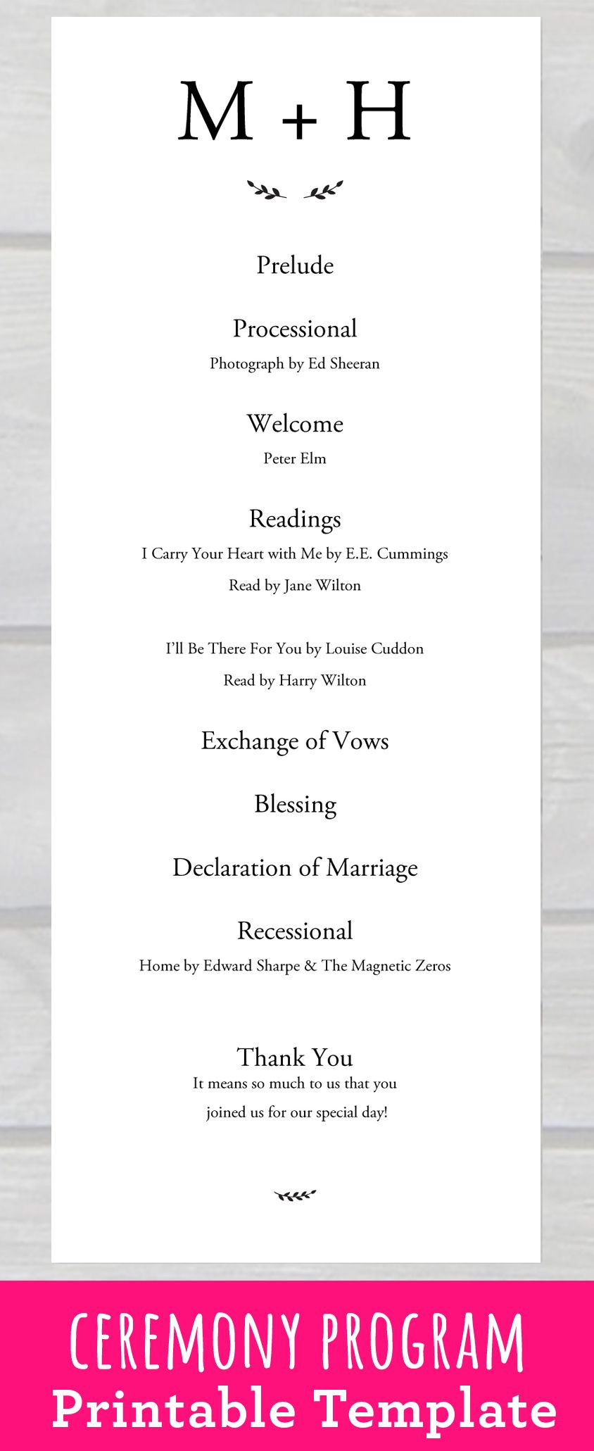 Wedding Ceremony Program Template PDF Printable for your