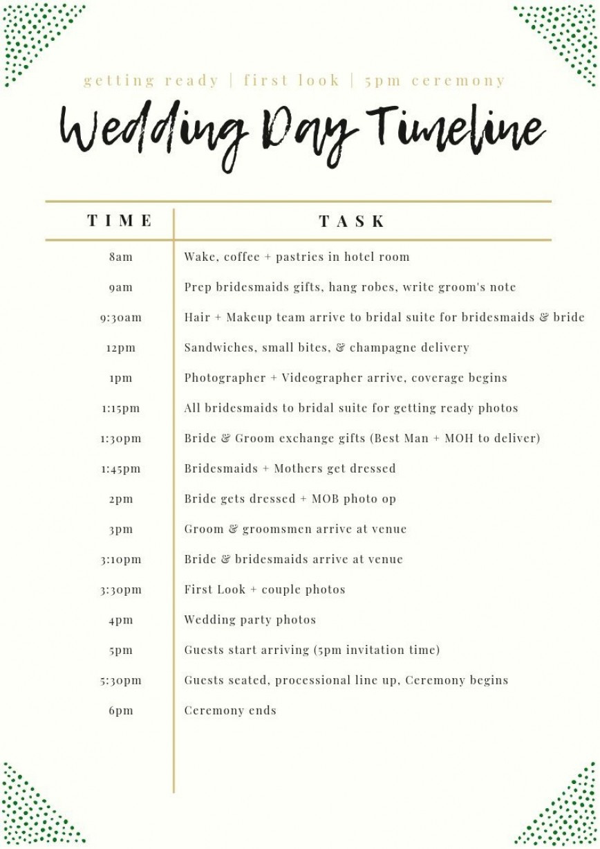Wedding Day Timeline Template Excel Addictionary