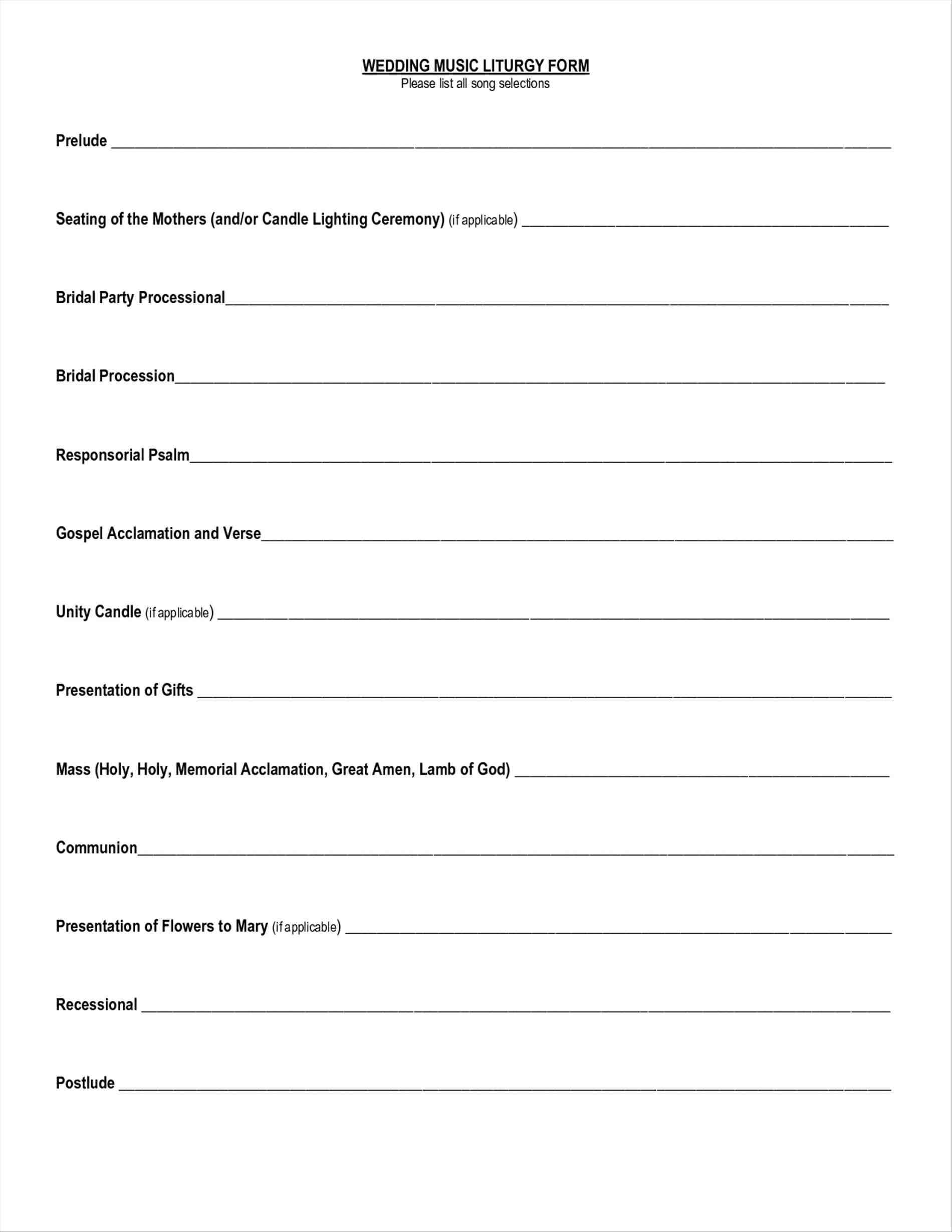 Wedding Party List Template