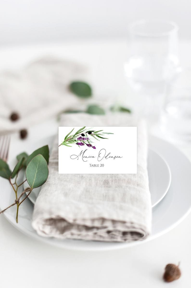 Lavender Place Card Template Greenery Wedding Place Cards