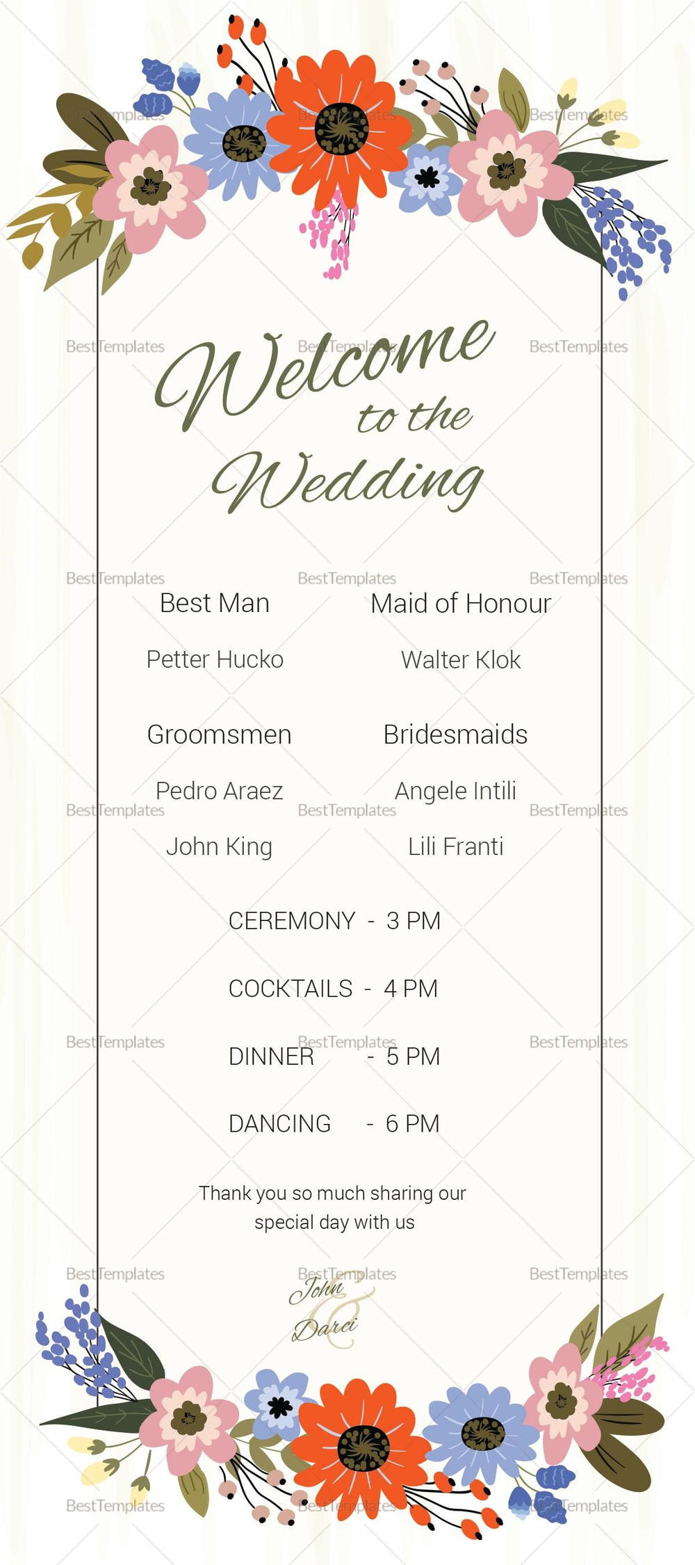 Wedding Program Fans Template