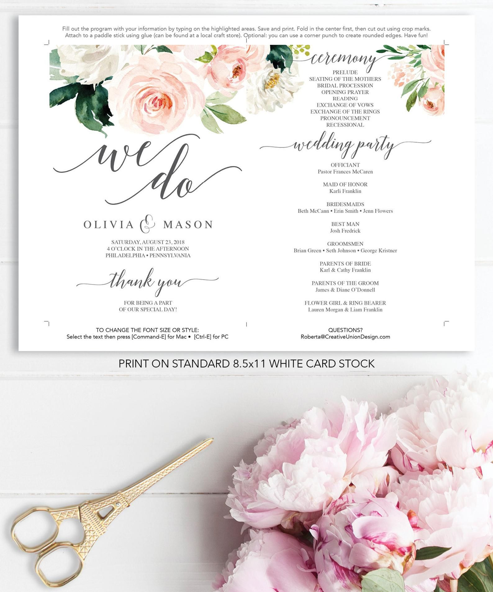 Floral Wedding Program Fan Printable Program Fan Template