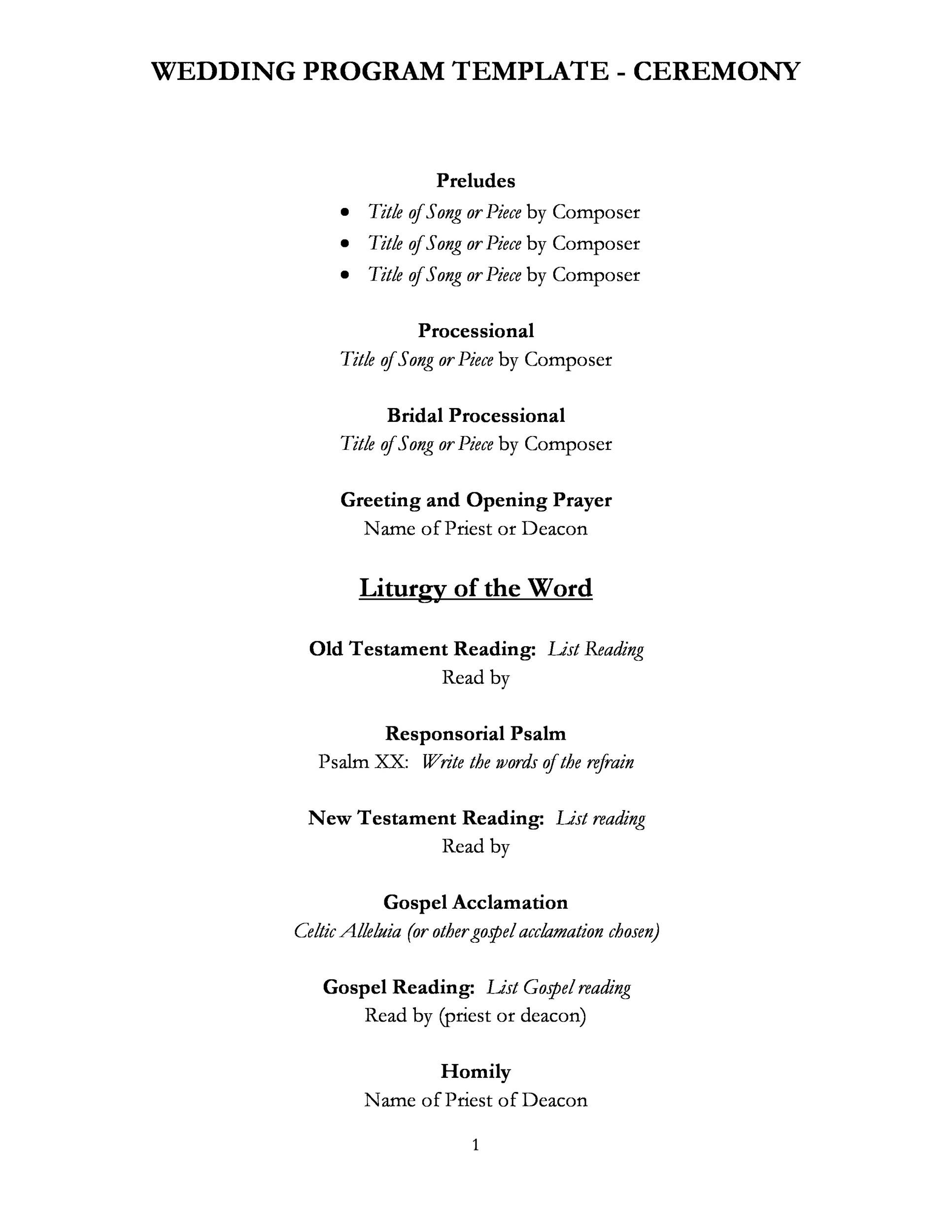 Wedding Reception Programme Template