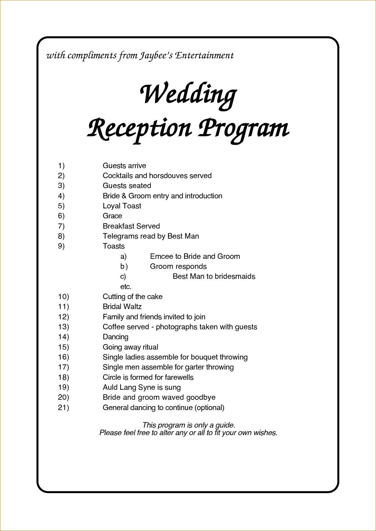 Wedding Reception Program Template Business Plan For Free