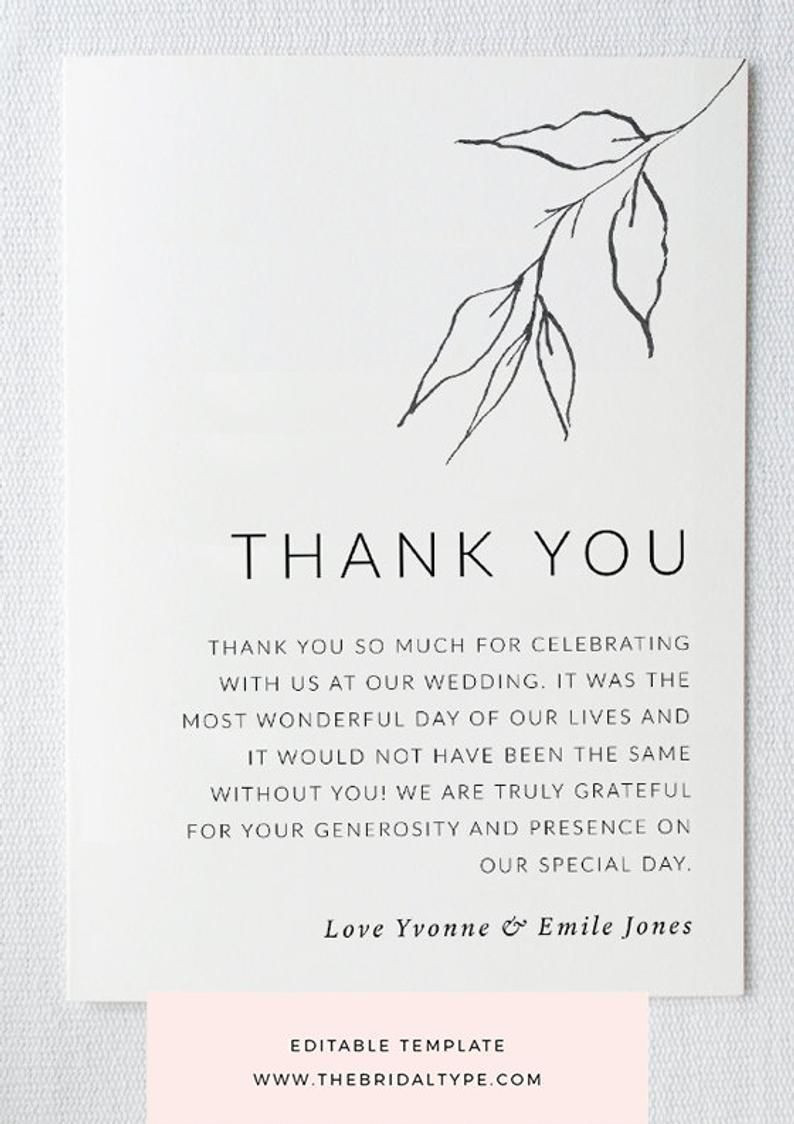 Botanical thank you card template Custom thank you