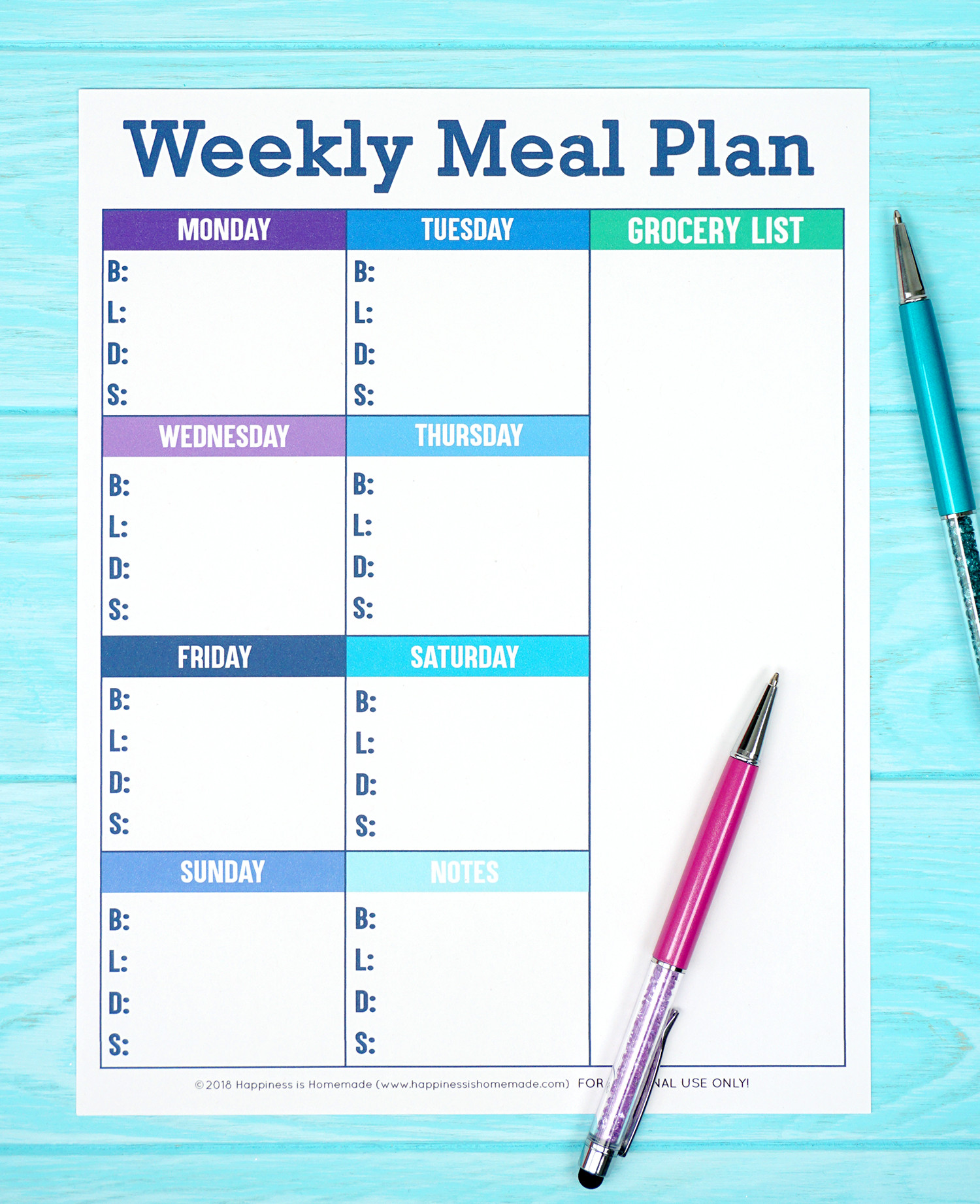 Weekly Meal Plan Template