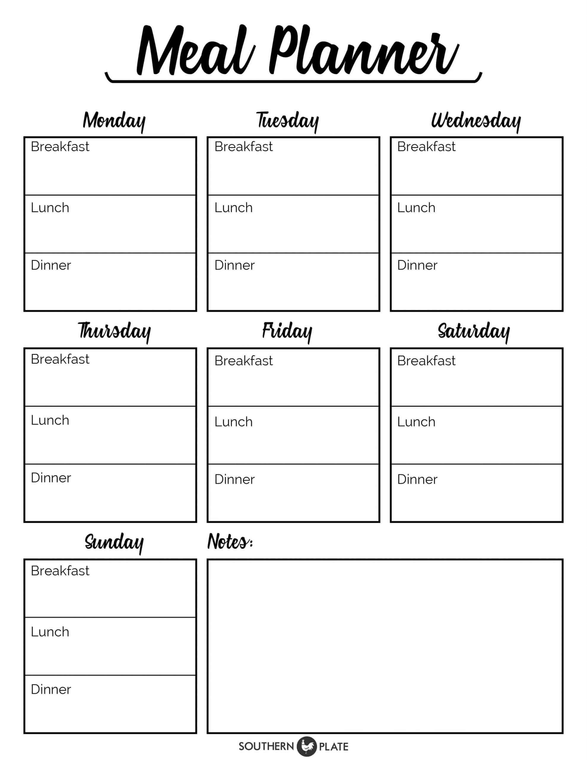 Weekly Meal Planner Template