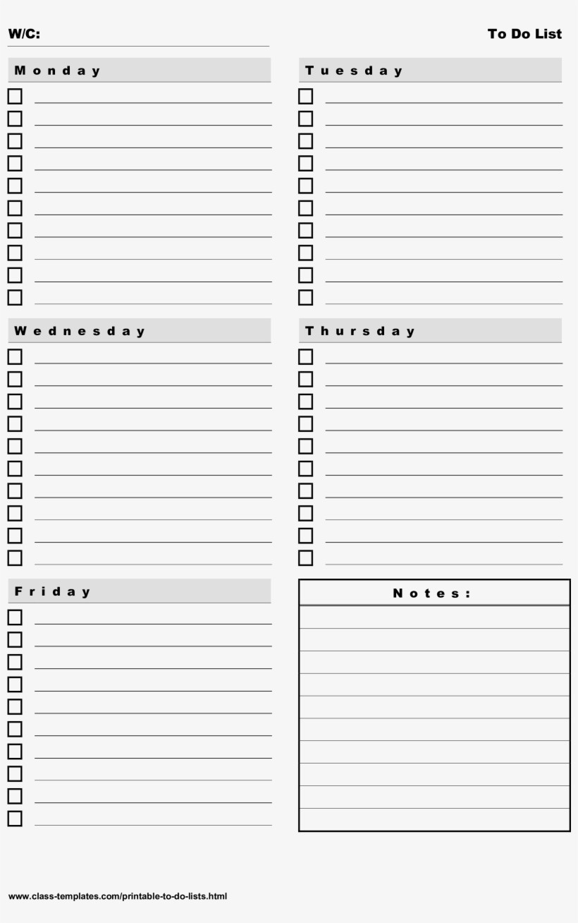 Weekly todo List Template