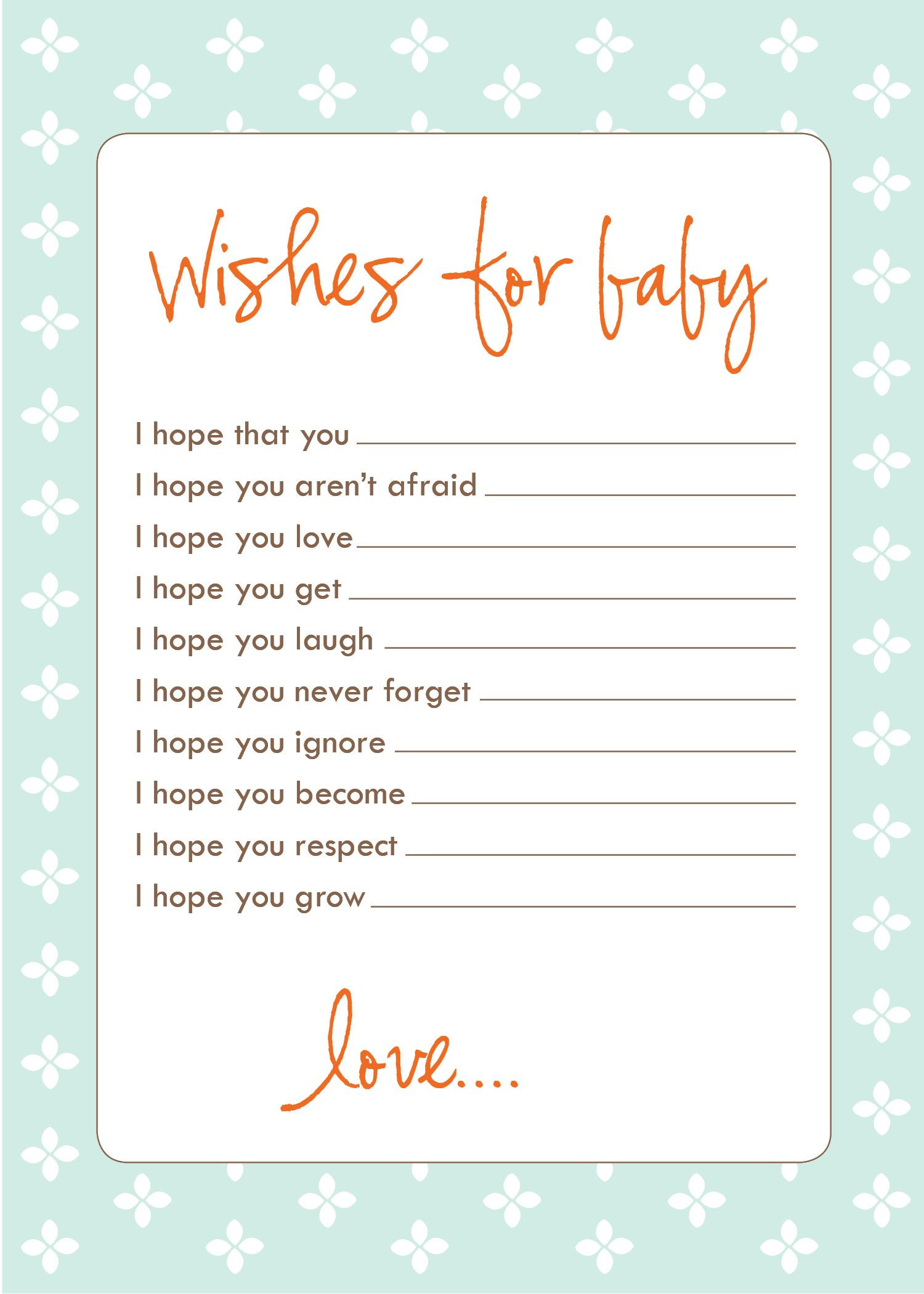 Wishes for Baby Template