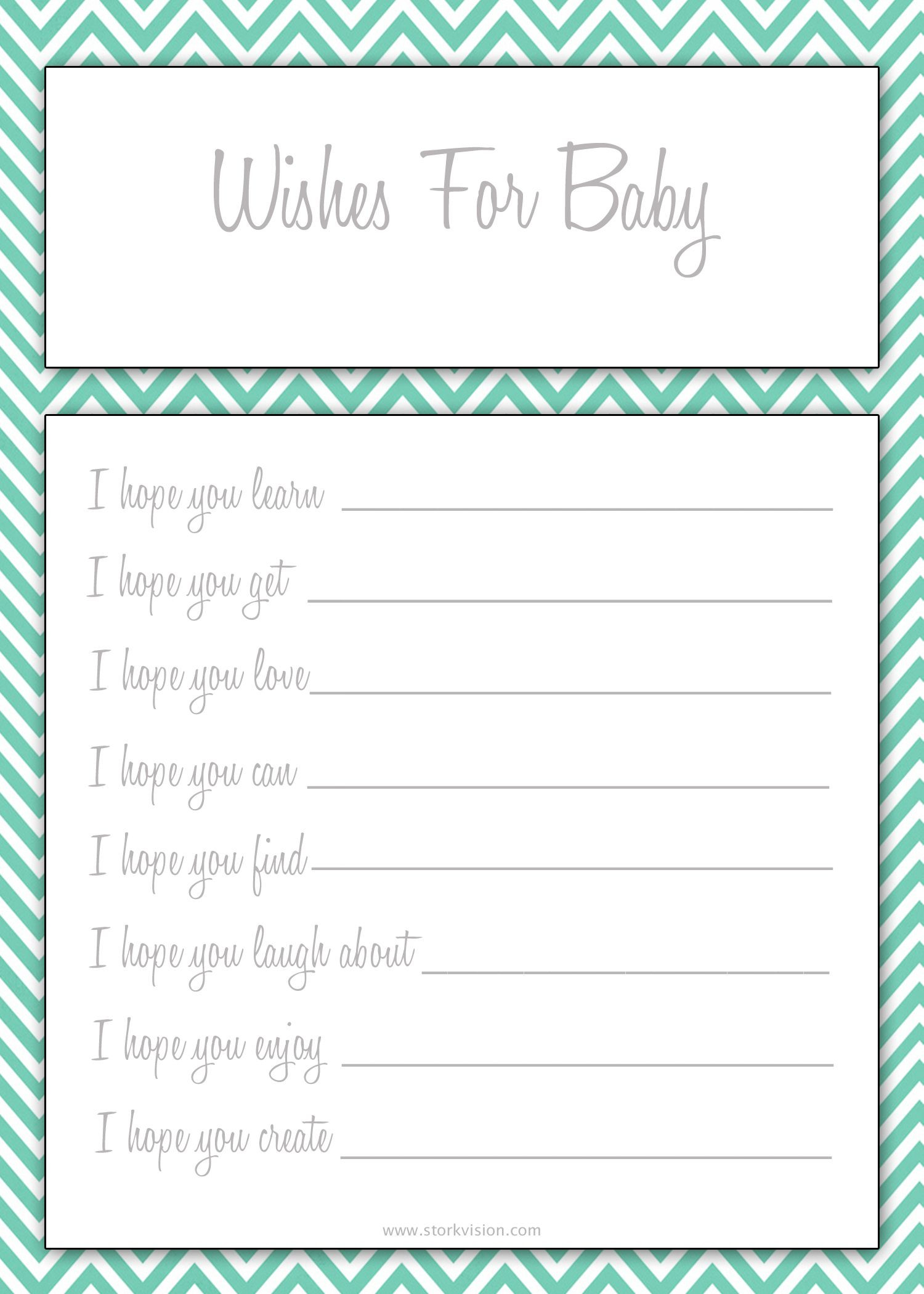 Wishes for Baby Printable in three colors