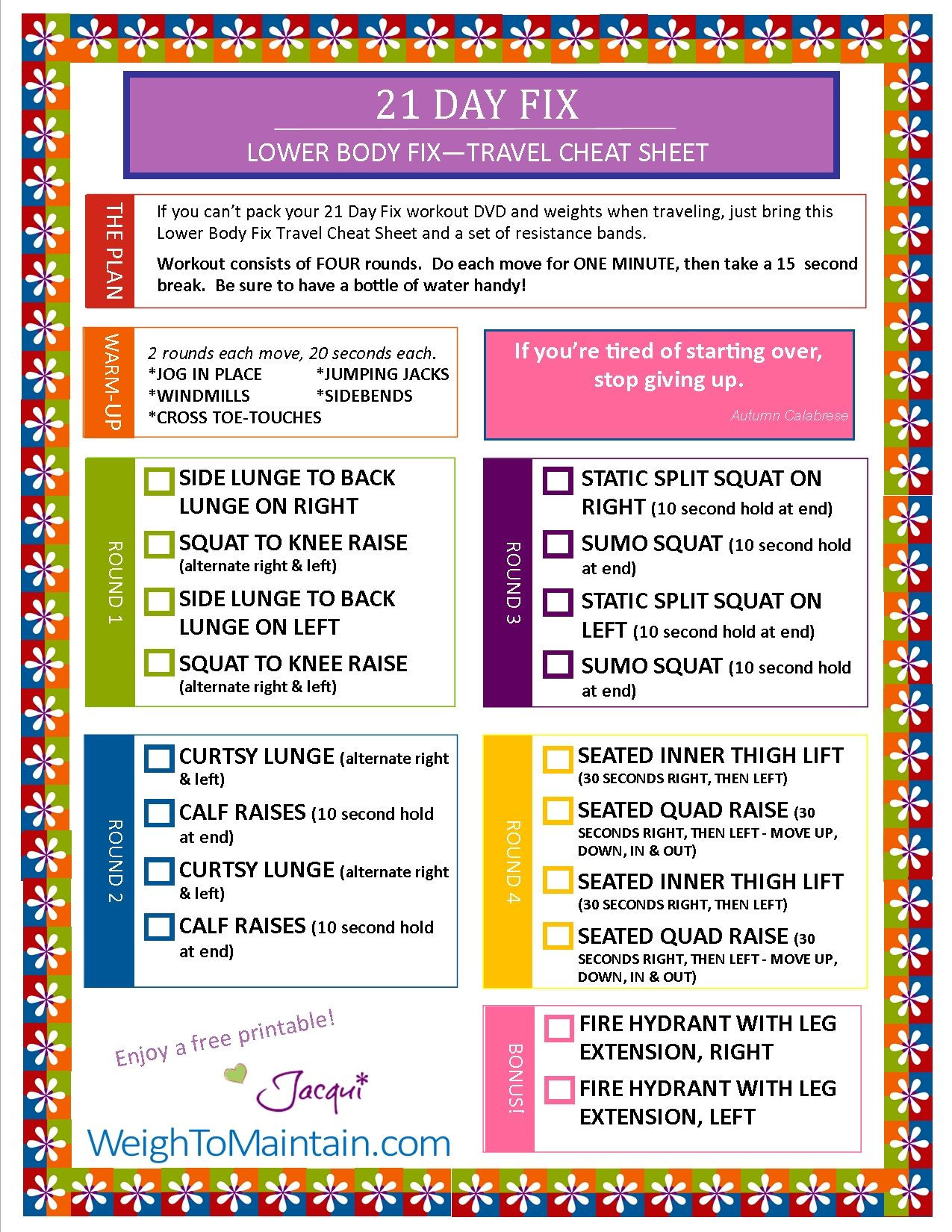21 Day Fix Template