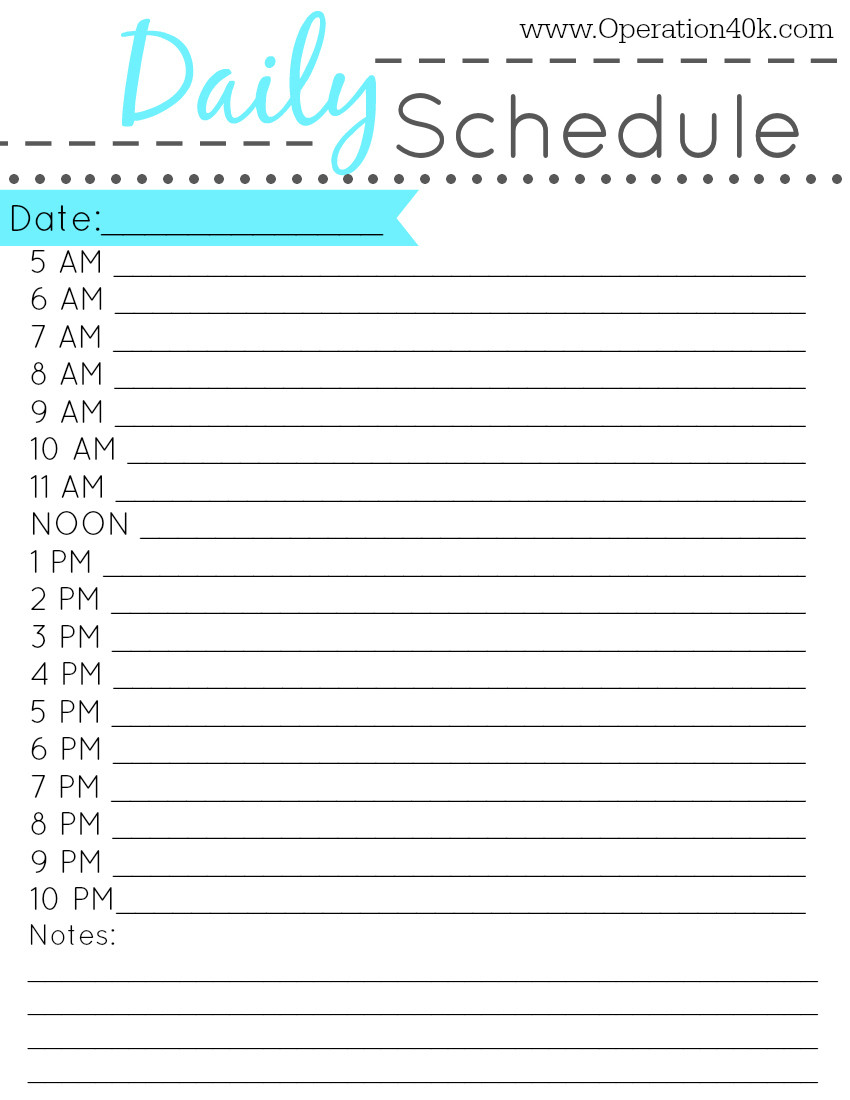 24 Hr Schedule Template