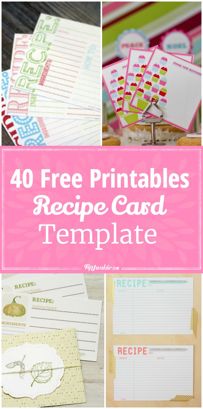 40 Recipe Card Template and Free Printables – Tip Junkie