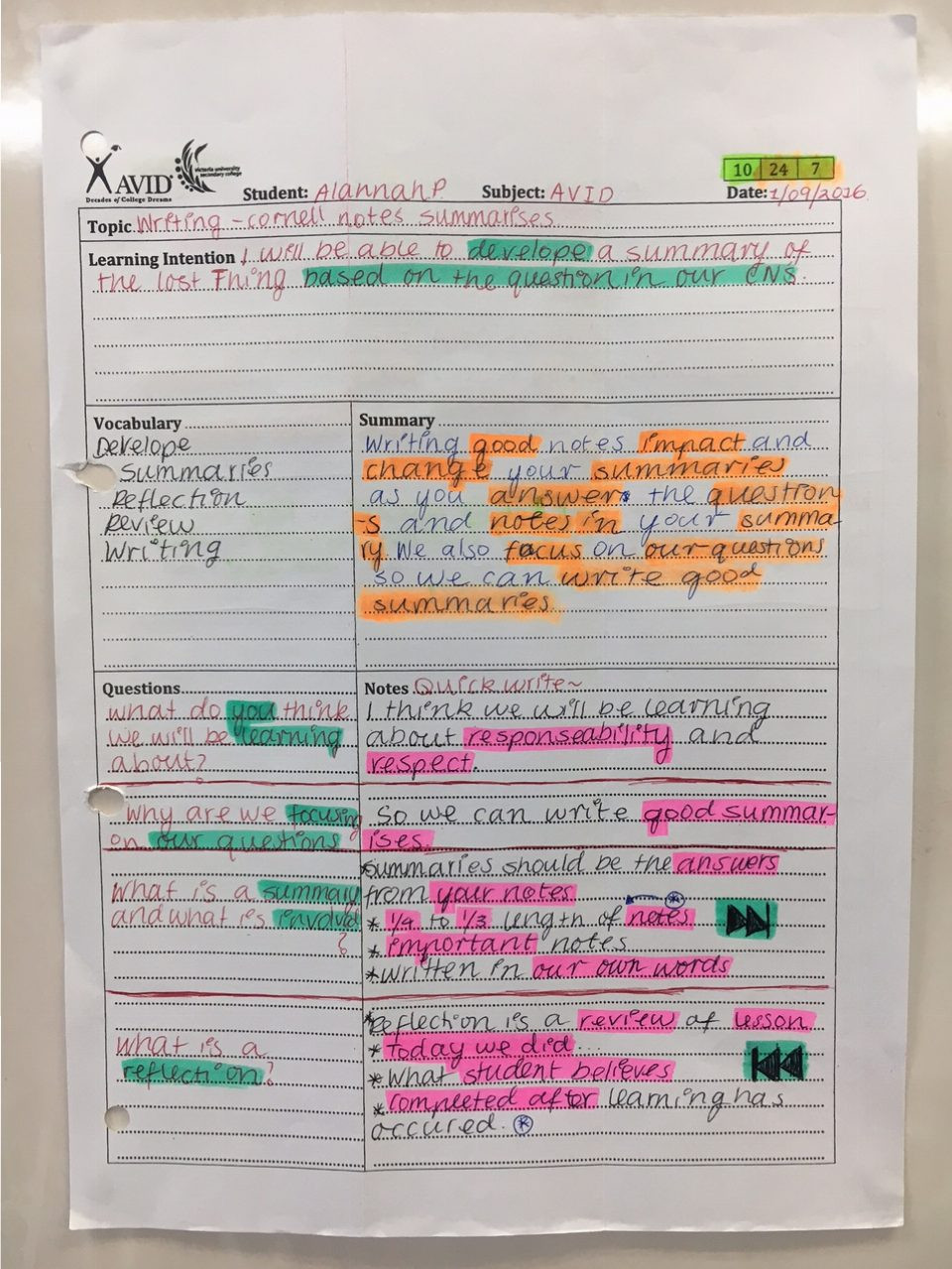 Avid Cornell Notes Template