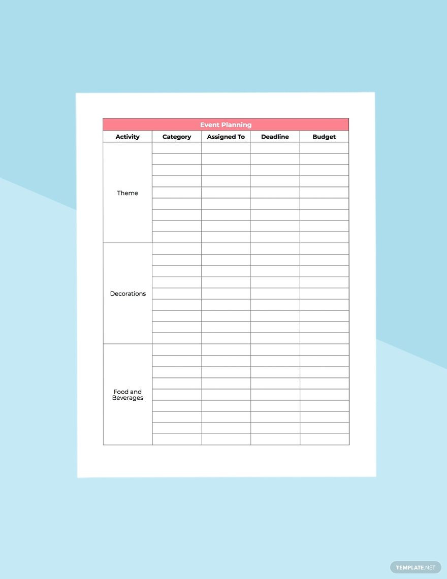 Baby Shower Planner Template