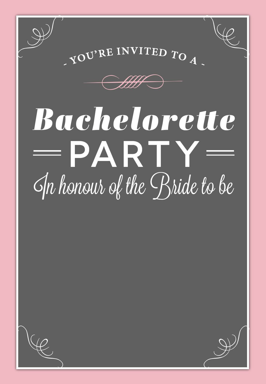 Bachelorette Party Invitation Free Printable
