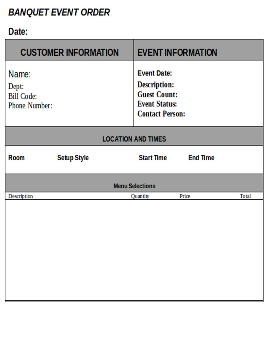 FREE 9 Event Order Forms in MS Word PDF