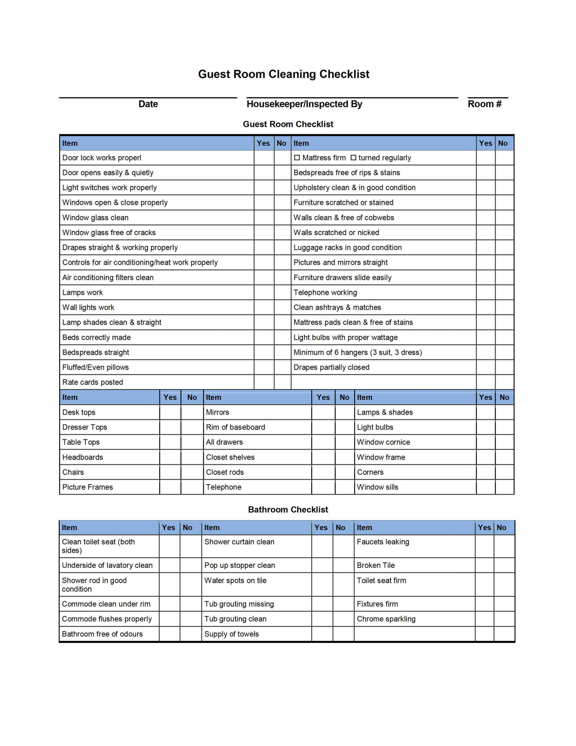 Bathroom Cleaning Checklist Template