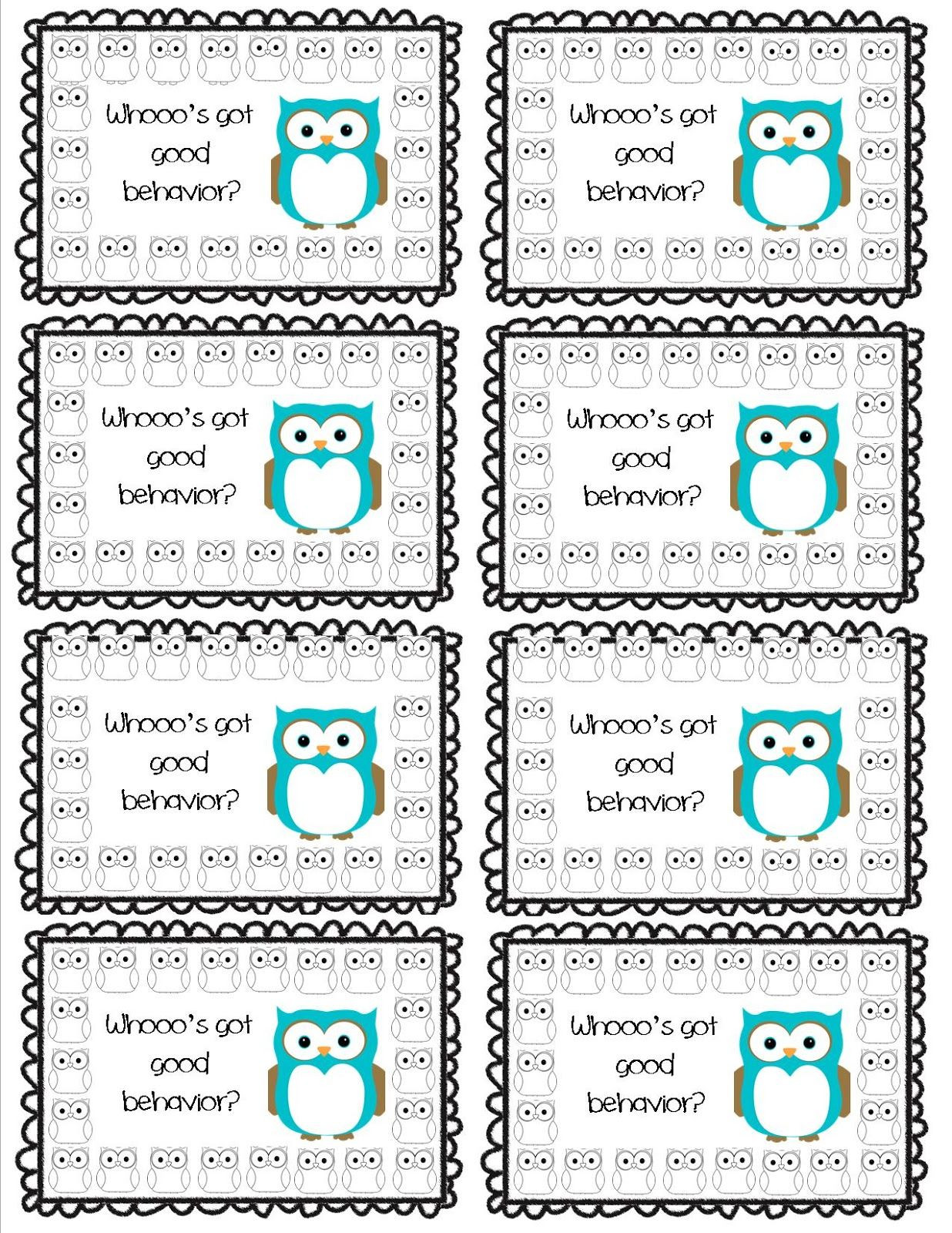 Behavior Punch Card Template