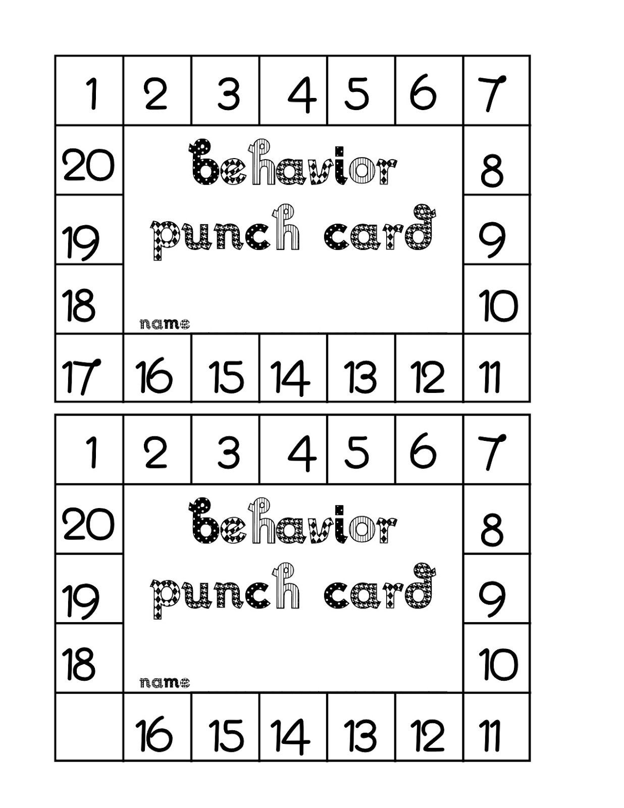 Behavior Punch Card Classroom Freebies