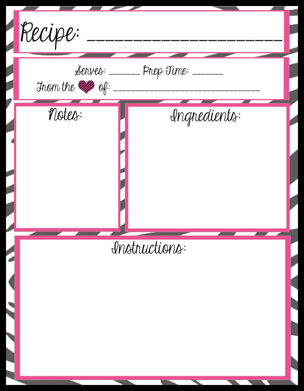 Mesa s Place Full Page Recipe Templates [Free printables
