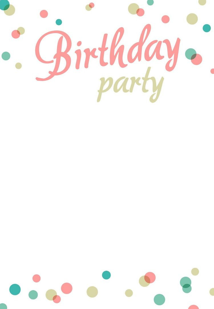 Birthday Party Invitation Template Blank
