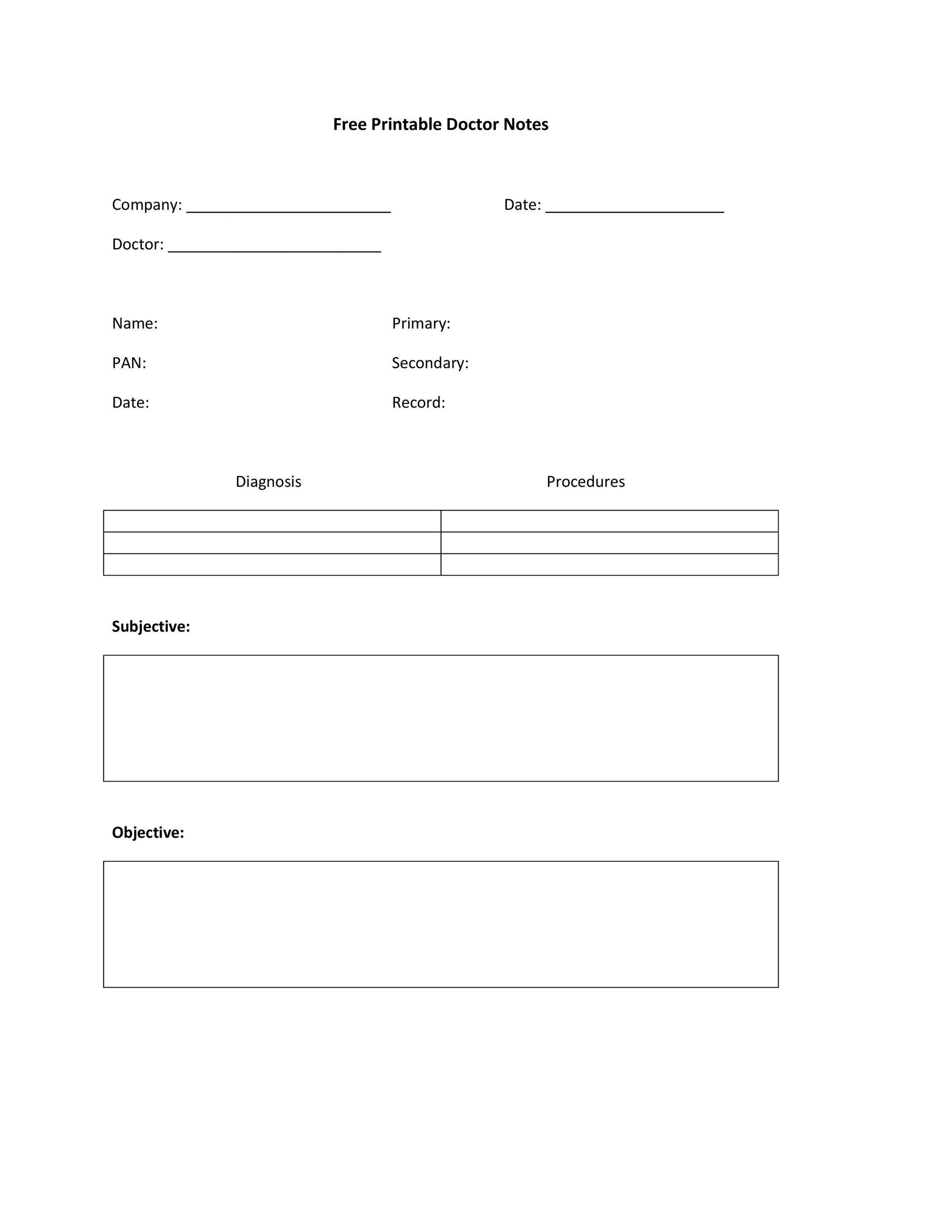 Blank soap Note Template