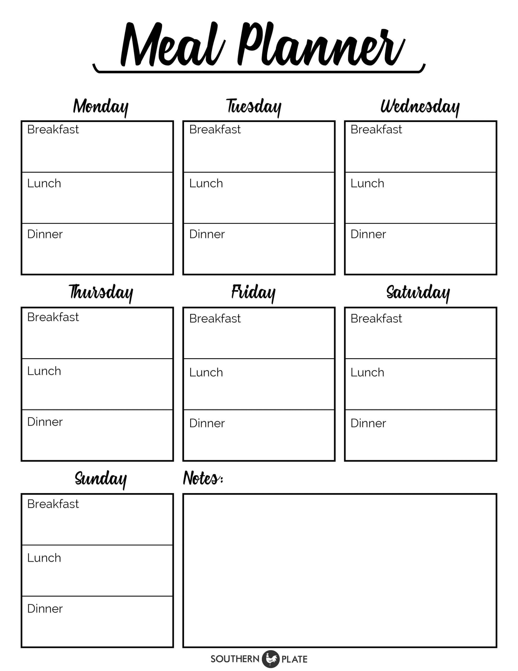 Blank Weekly Menu Template