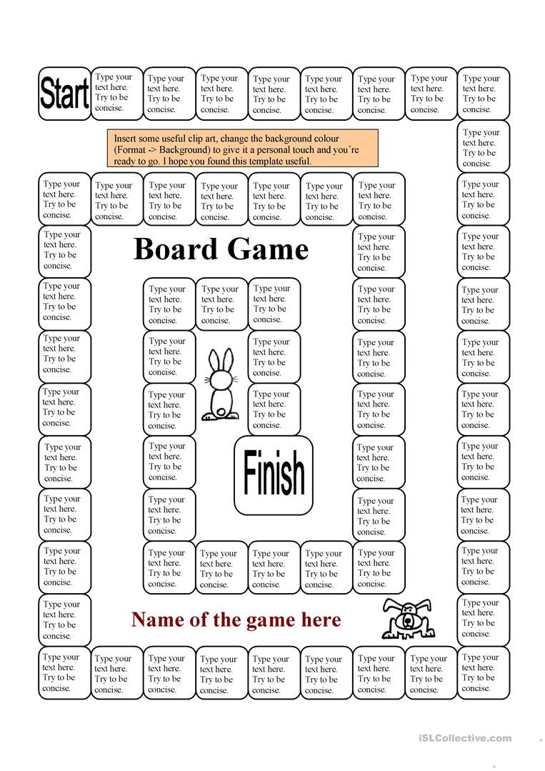 English ESL board game template worksheets Most ed