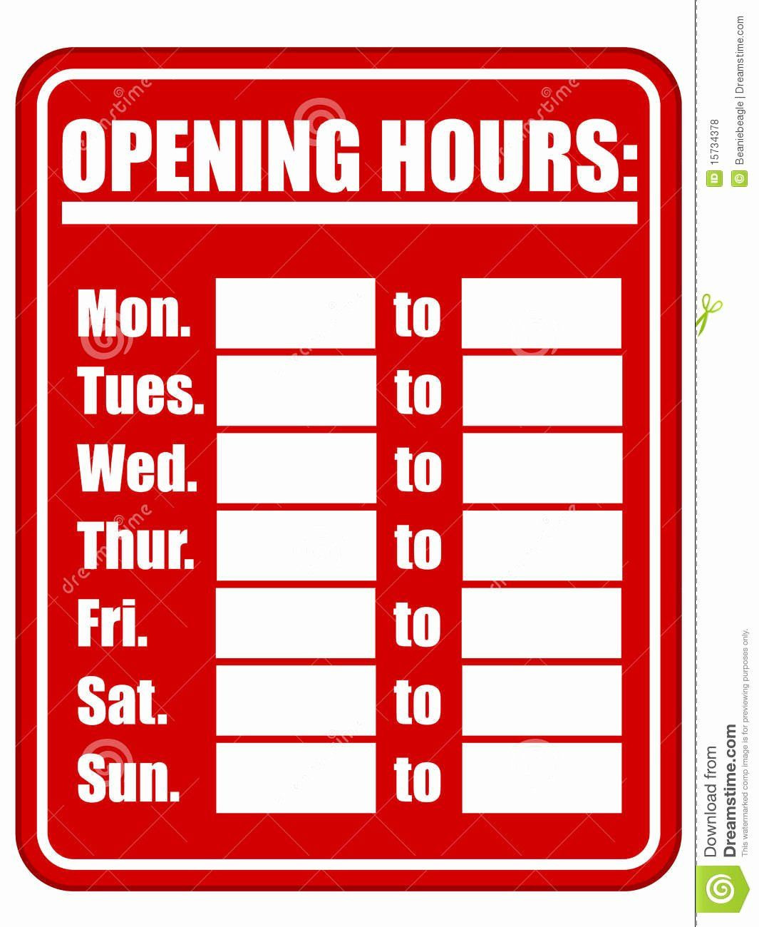 Business Hours Sign Template Awesome Opening Hours Sign Eps