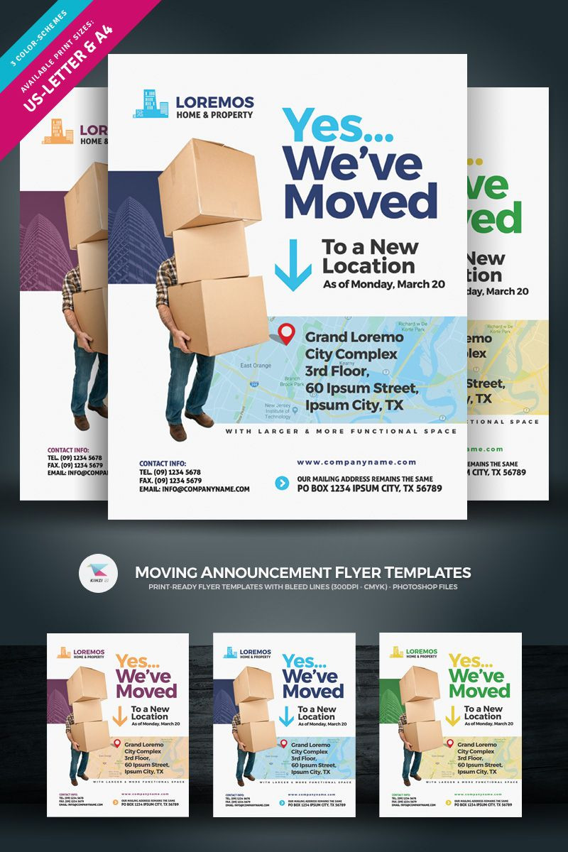 Moving Announcement Flyer Corporate Identity Template Ad