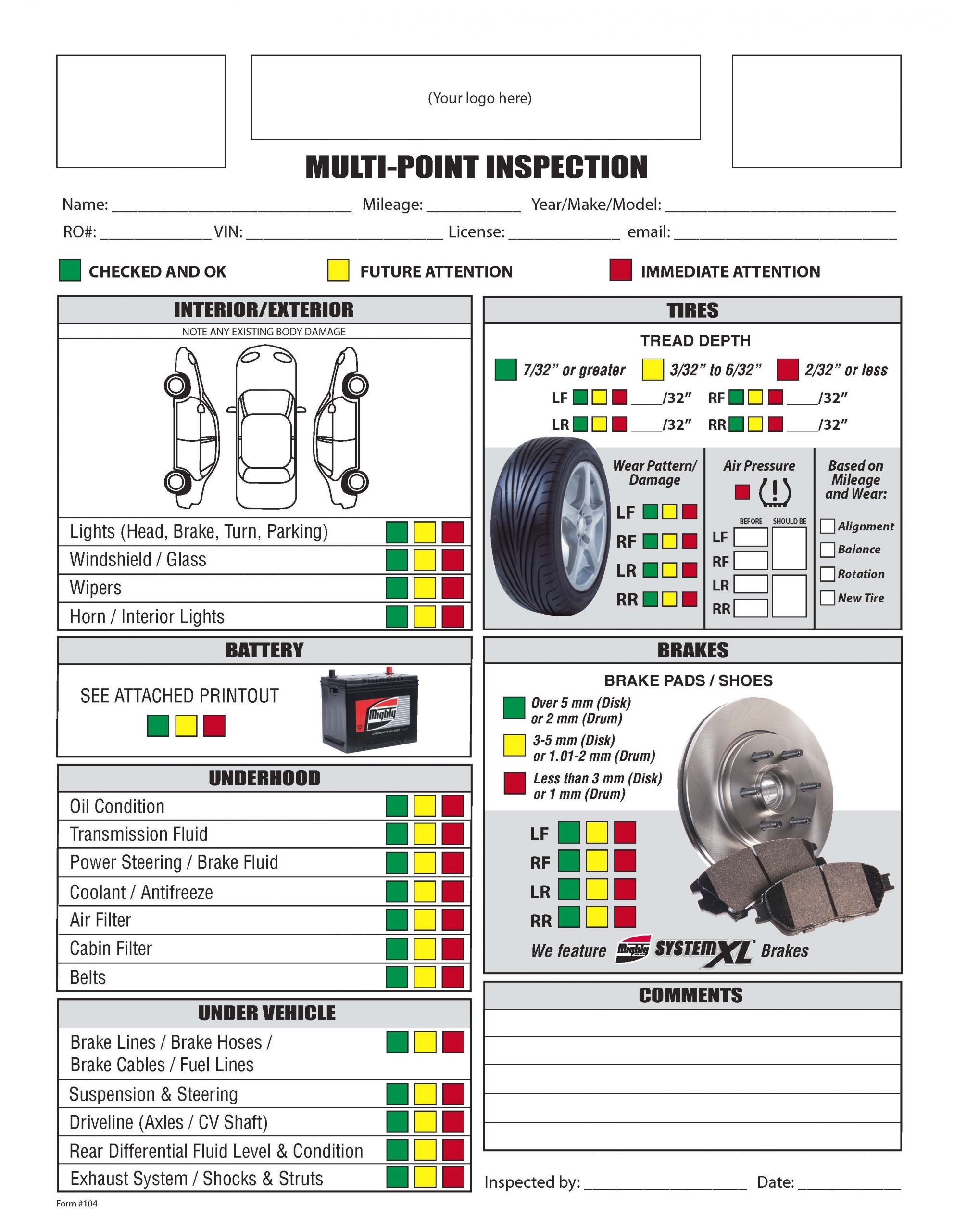 Car Inspection Checklist Template