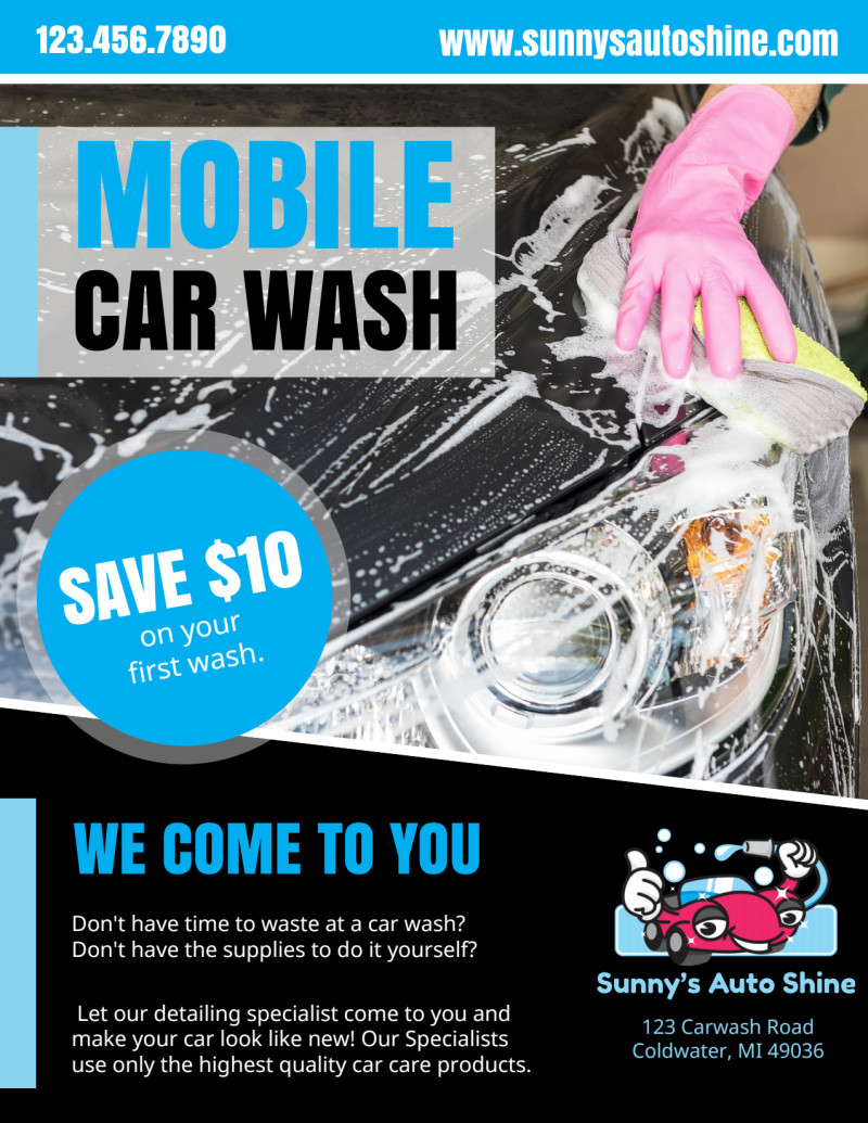 Mobile Car Wash Flyer Template