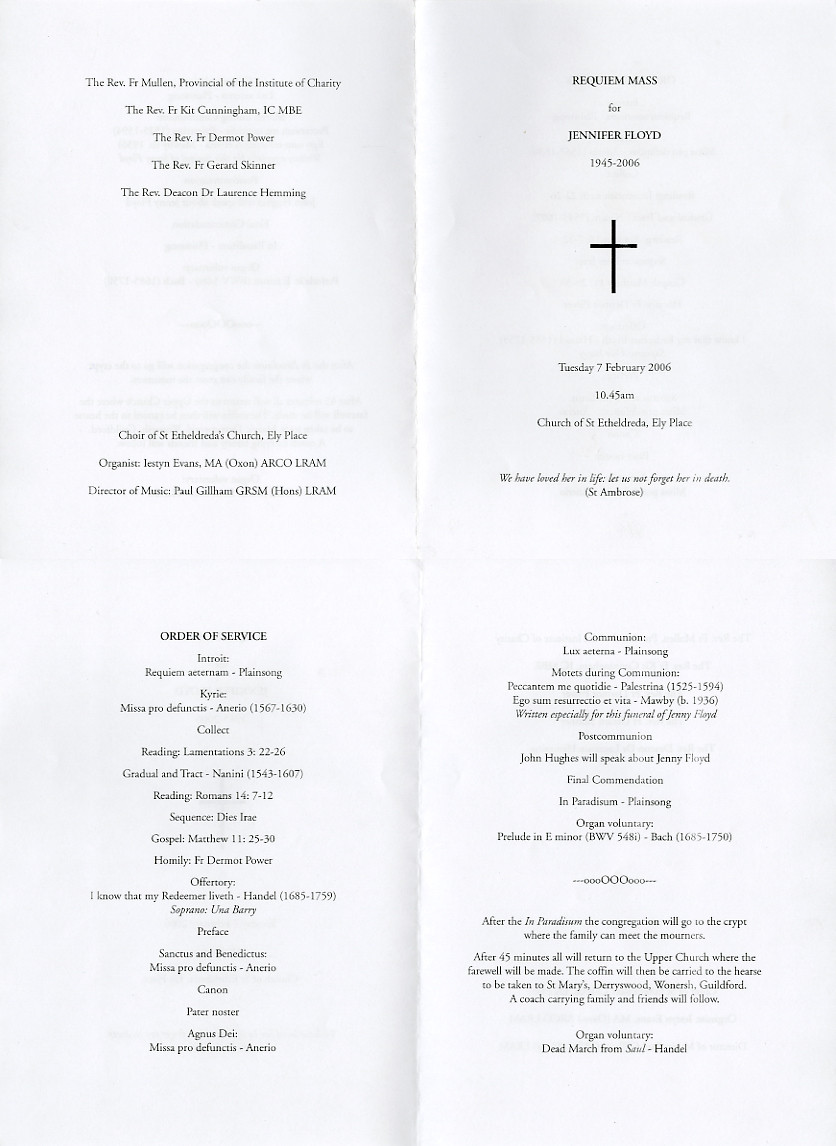 Catholic Funeral Program Template