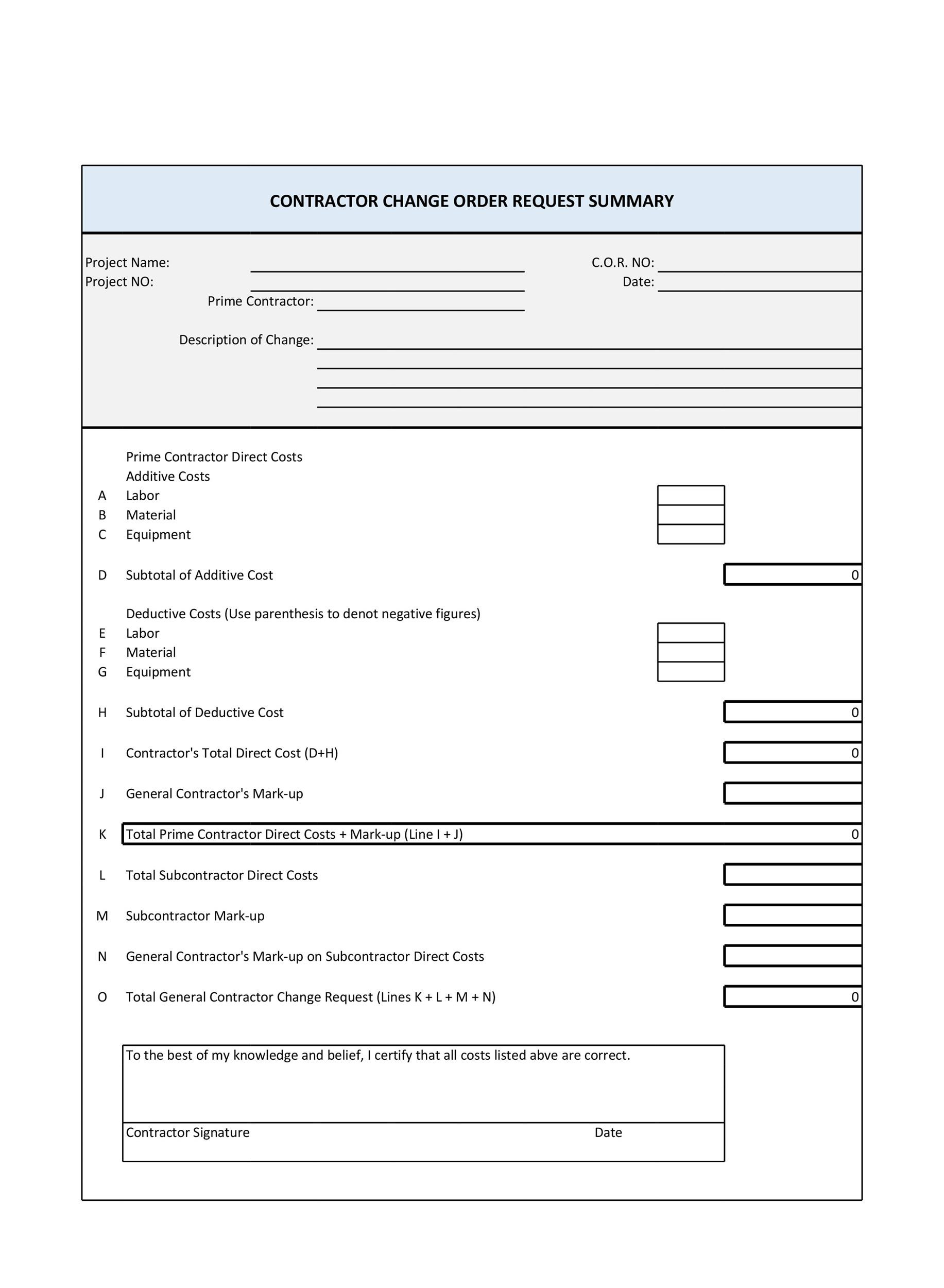 Change order form Template