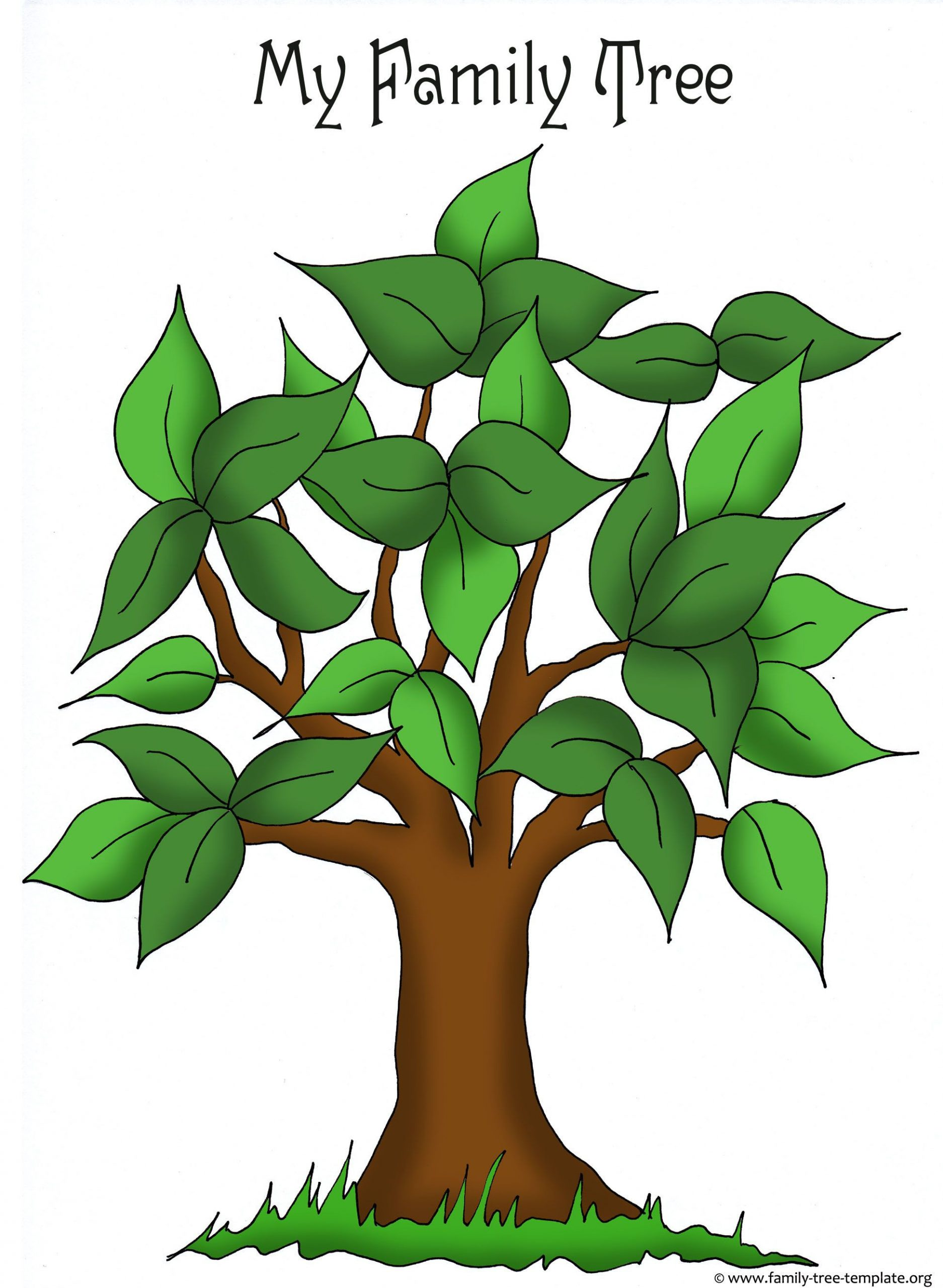 Artistic apple tree template for free placement of family