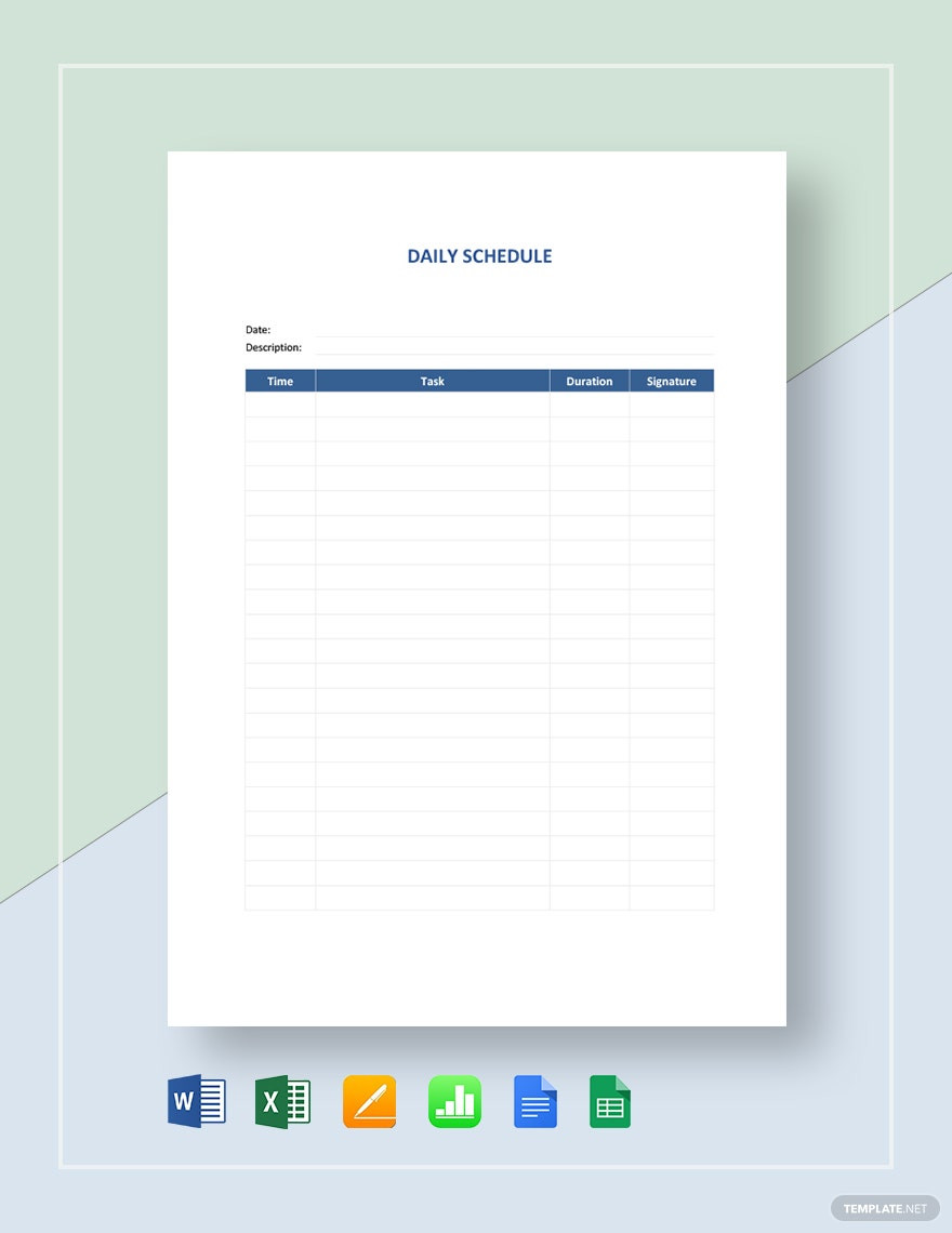 Classroom Daily Schedule Template