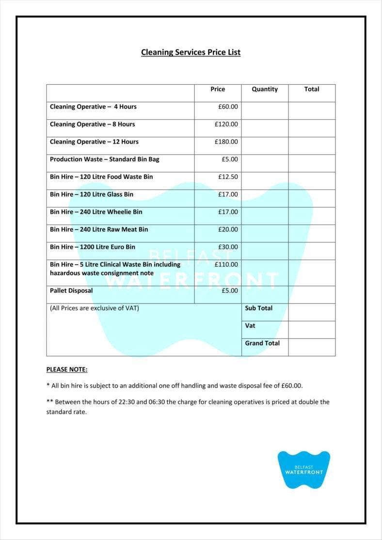 Cleaning Service Checklist Template
