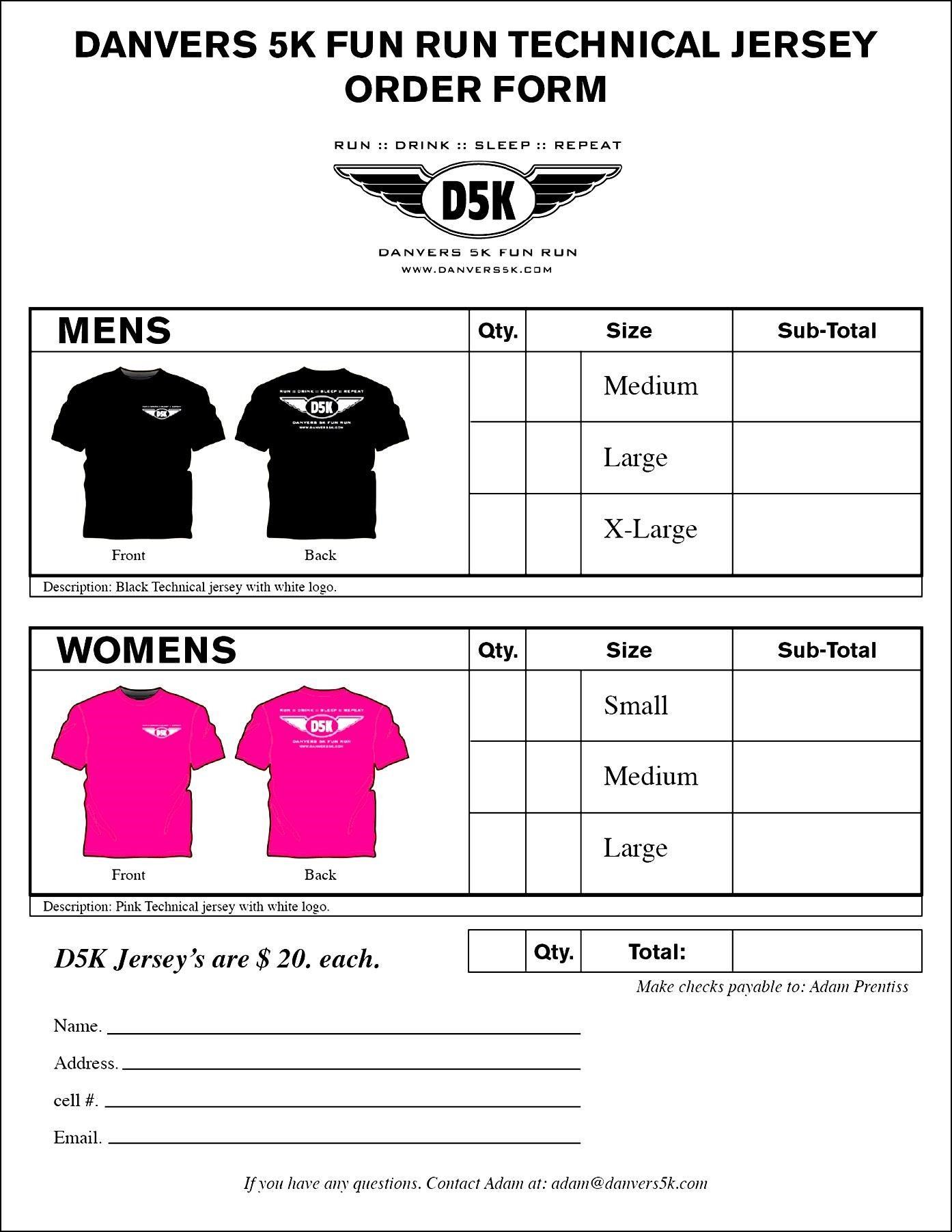 Clothing order form Template