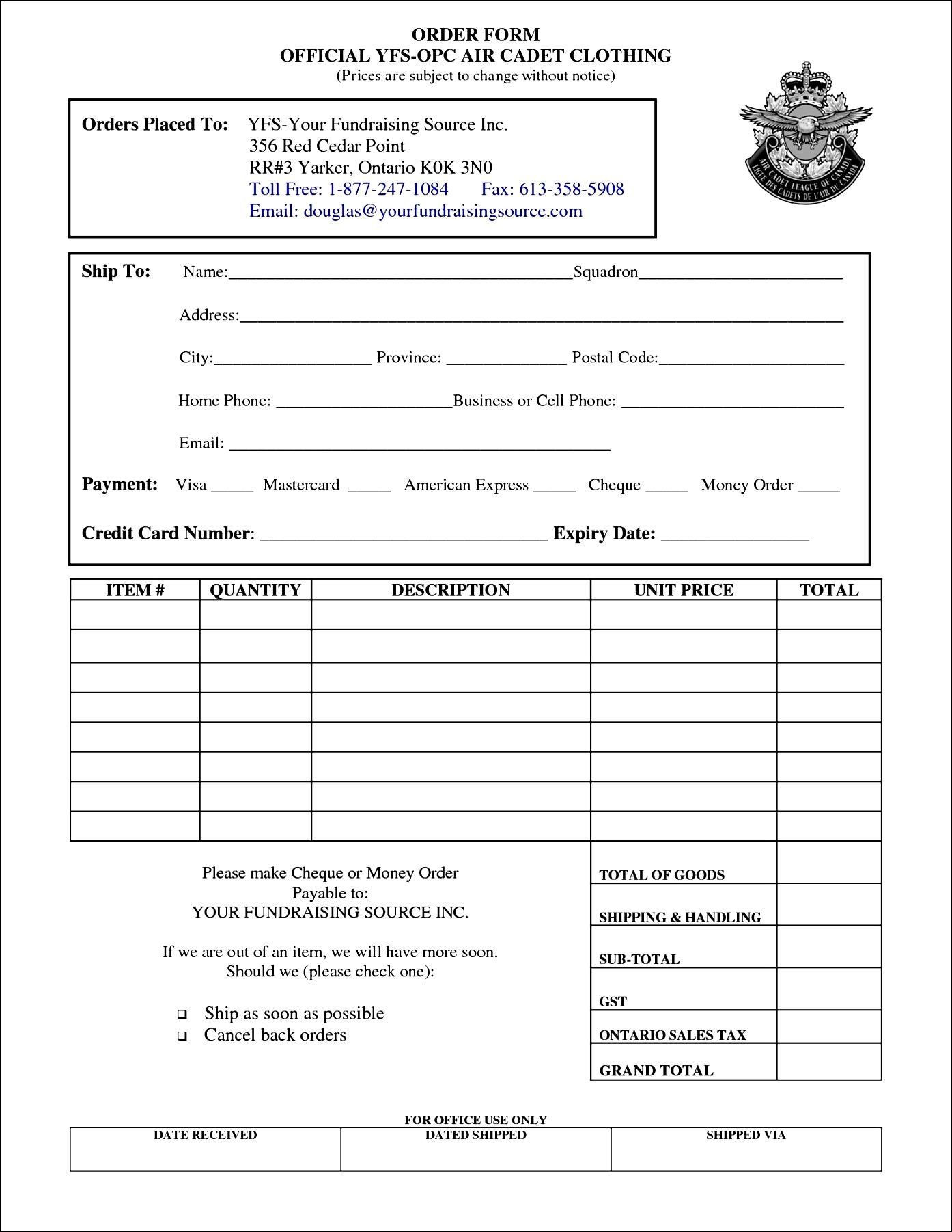 Clothing Order Form Template Free