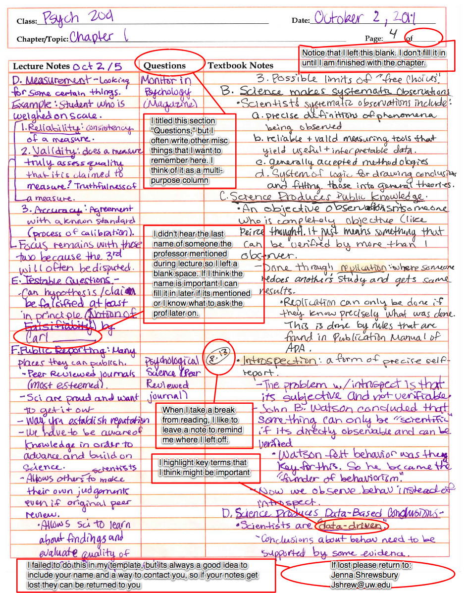 College Note Taking Template